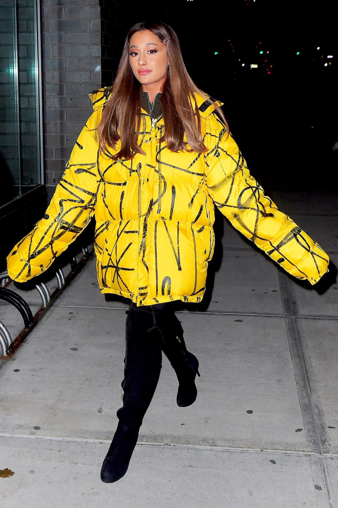 EXCLUSIVE: Ariana Grande Heads To The Recording Studio Wearing Oversized Yellow Puffer Jacket