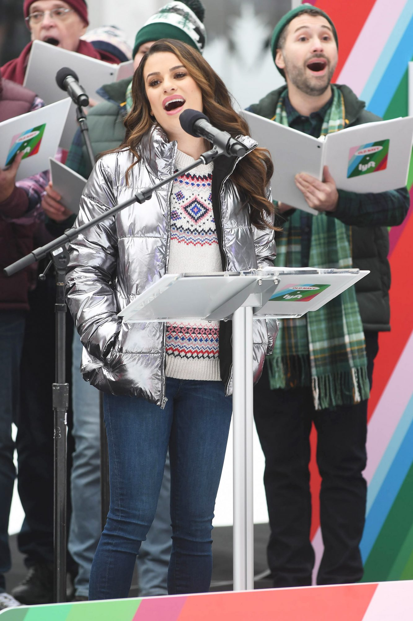 Lea Michele & Old Navy Spread Holiday Cheer with Lyft in Bryant Park.