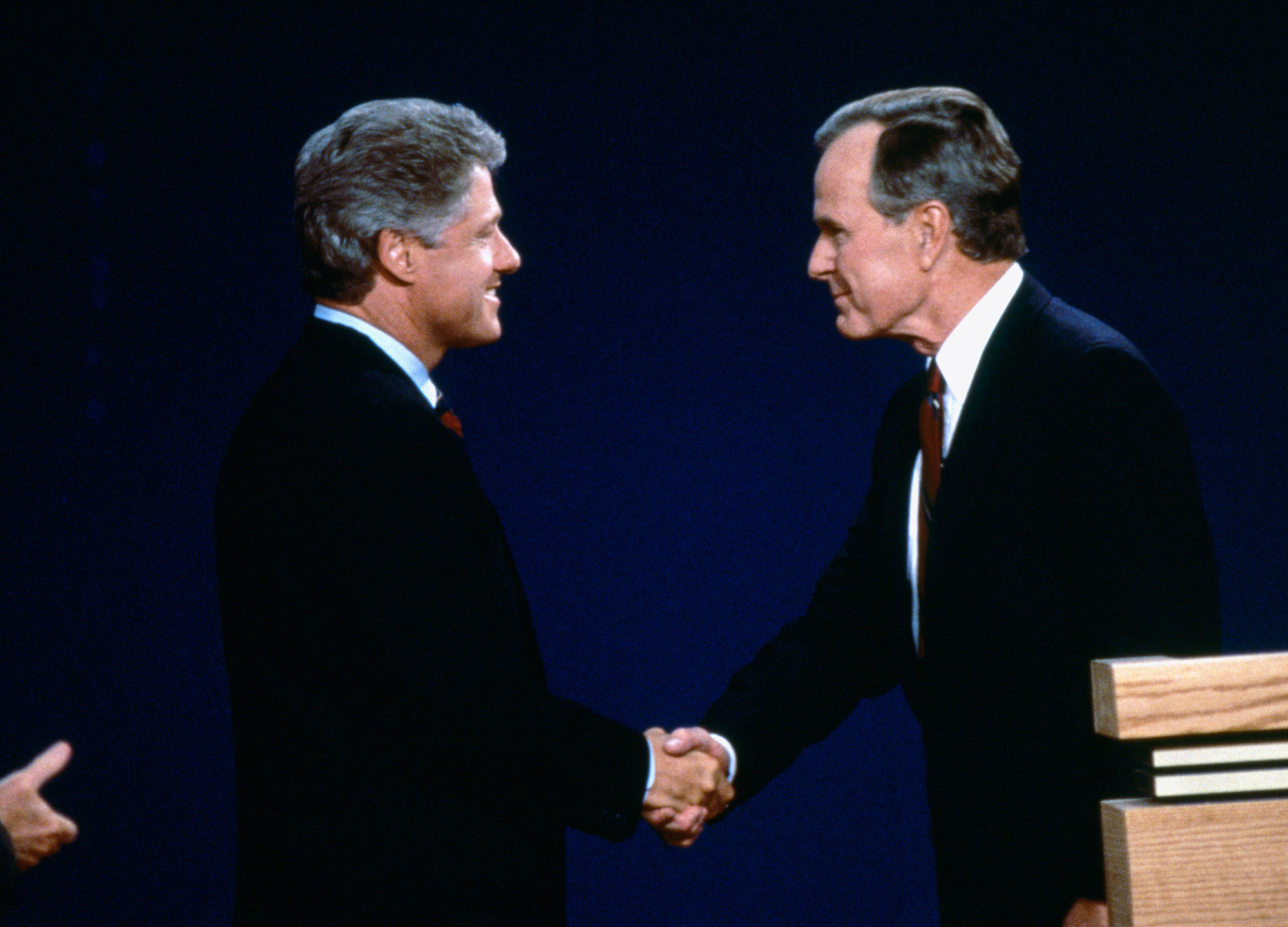 Televised debate between incumbent President Republican George H. W. Bush, Democrat Bill Clinton, the Governor of Arkansas; and independent candidate Ross Perot, a Texas businessman. (Photo by Ira Wyman/Sygma via Getty Images)