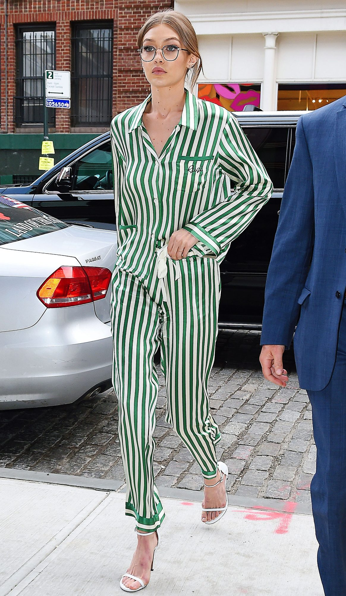 Gigi Hadid wears striped pajamas for lunch with friends
