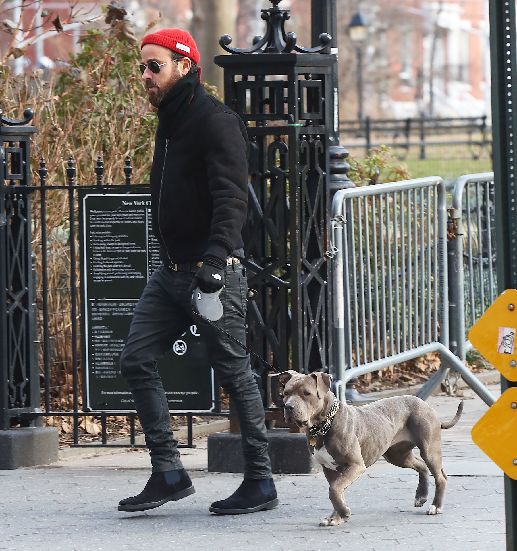 Justin Theroux Walking his dog in Soho