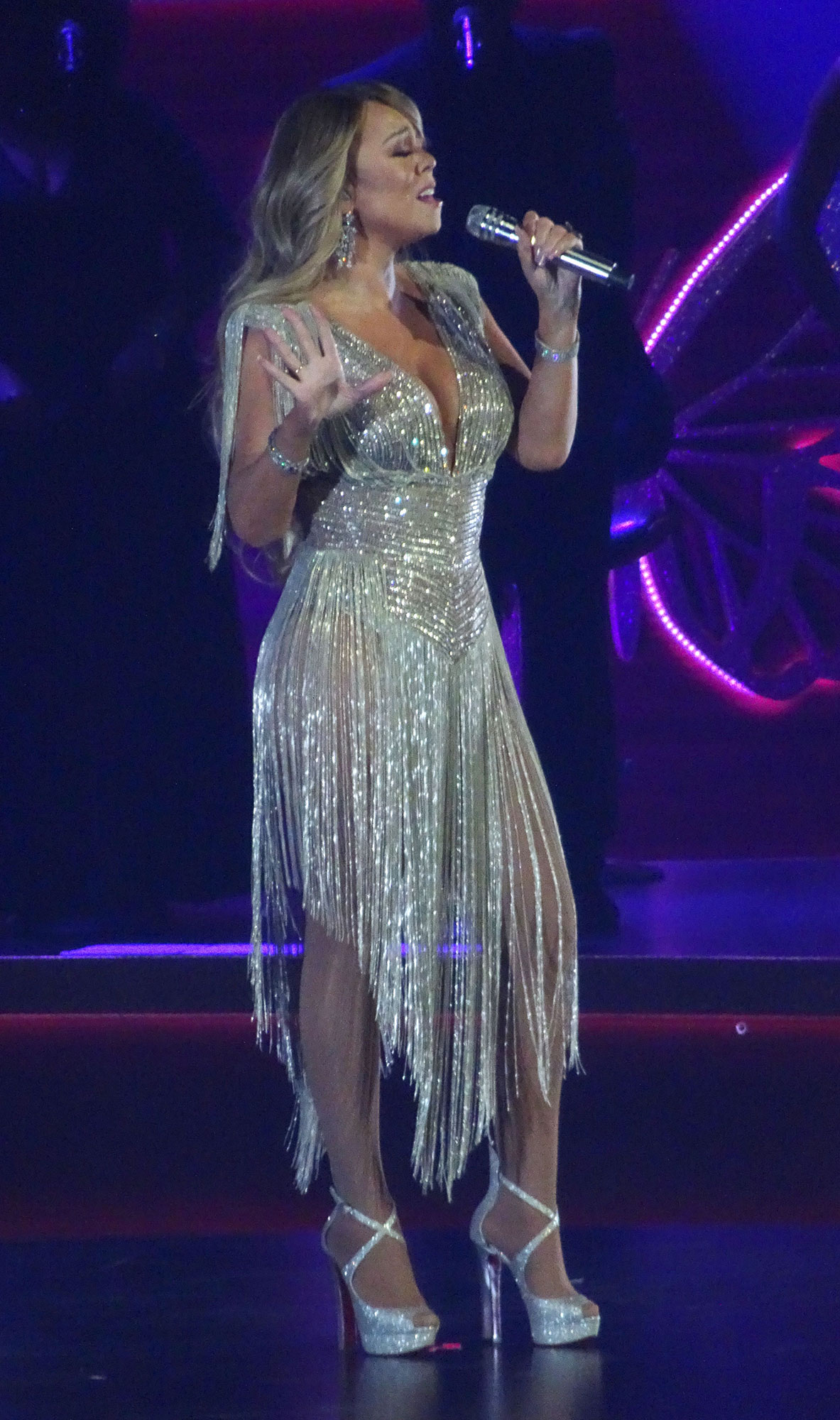 Mariah Carey shows off her curves as she performs on opening night at 'The Butterfly Returns' at Cesar's Palace in Las Vegas.