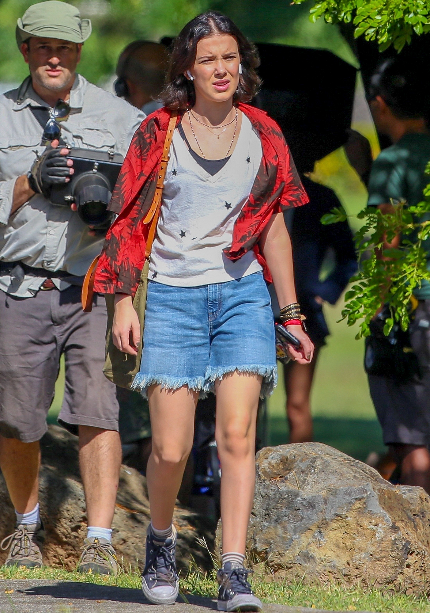 *EXCLUSIVE* First Pictures of Millie Bobby Brown on the set of Godziilla vs Kong, fresh off wrapping up Season 3 of Stranger Things