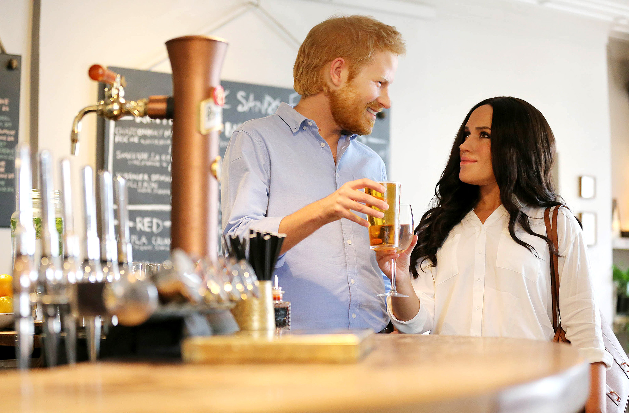 Madame Tussauds Live Figures of the Duke and Duchess of Sussex Spend the day Together