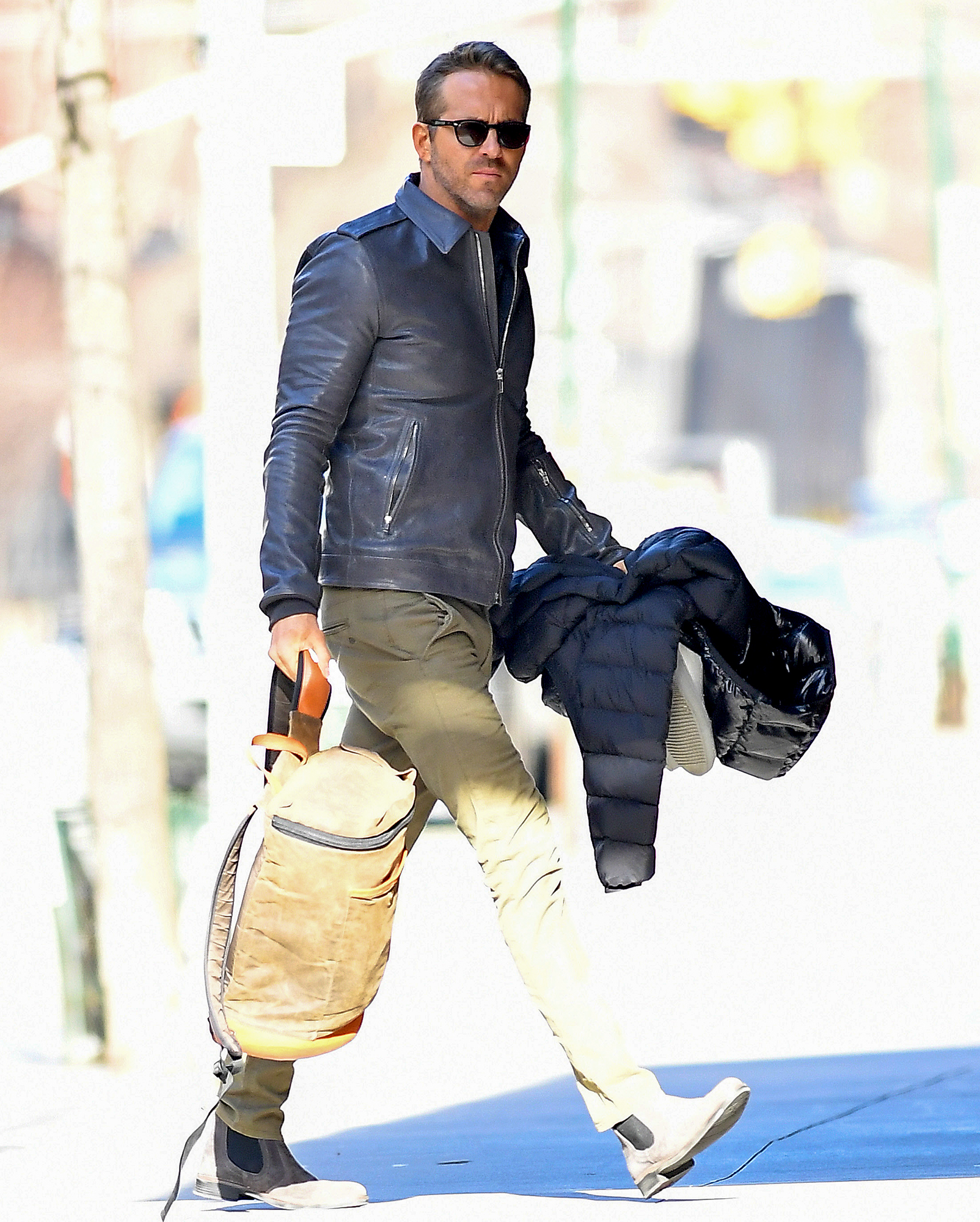 EXCLUSIVE: Ryan Reynolds Seen Carrying His Backpack In New York City
