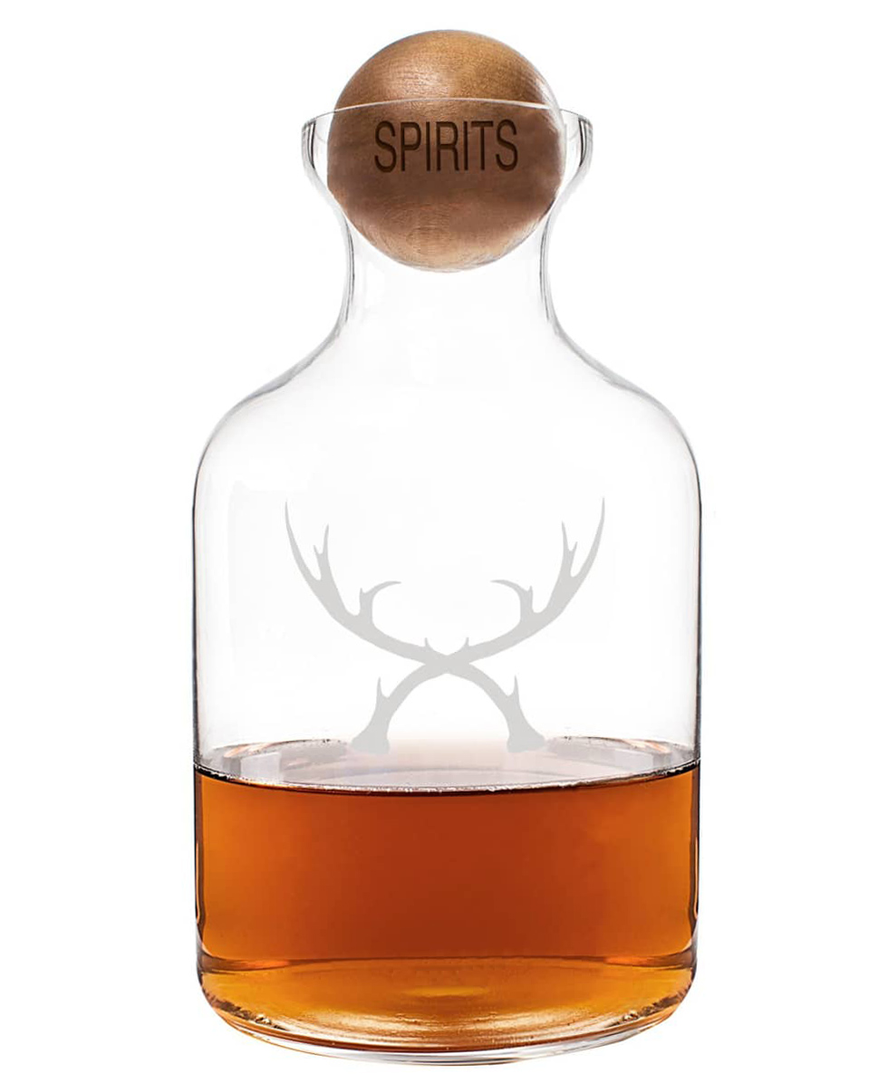 Cathy's Concepts Antlers Glass Decanter & Wood Stopper