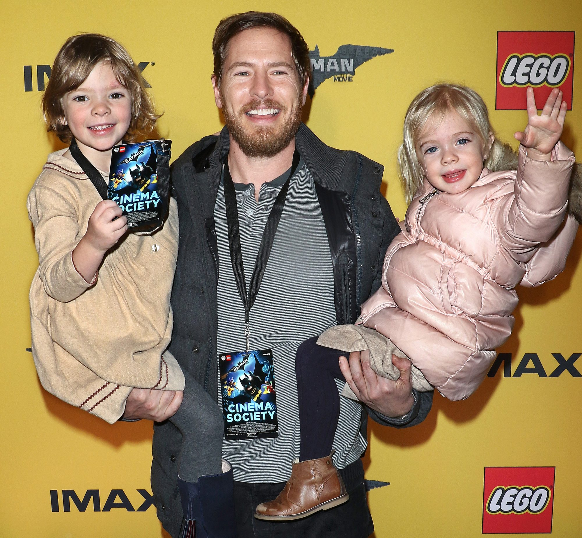 "NEW YORK, NY - FEBRUARY 09: Will Kopelman (C) with Olive Barrymore Kopelman (L) and Frankie Barrymore Kopelman (R) attend ""The Lego Batman Movie"" New York screening at AMC Loews Lincoln Square 13 on February 9, 2017 in New York City. (Photo by Jim Spellman/WireImage)"