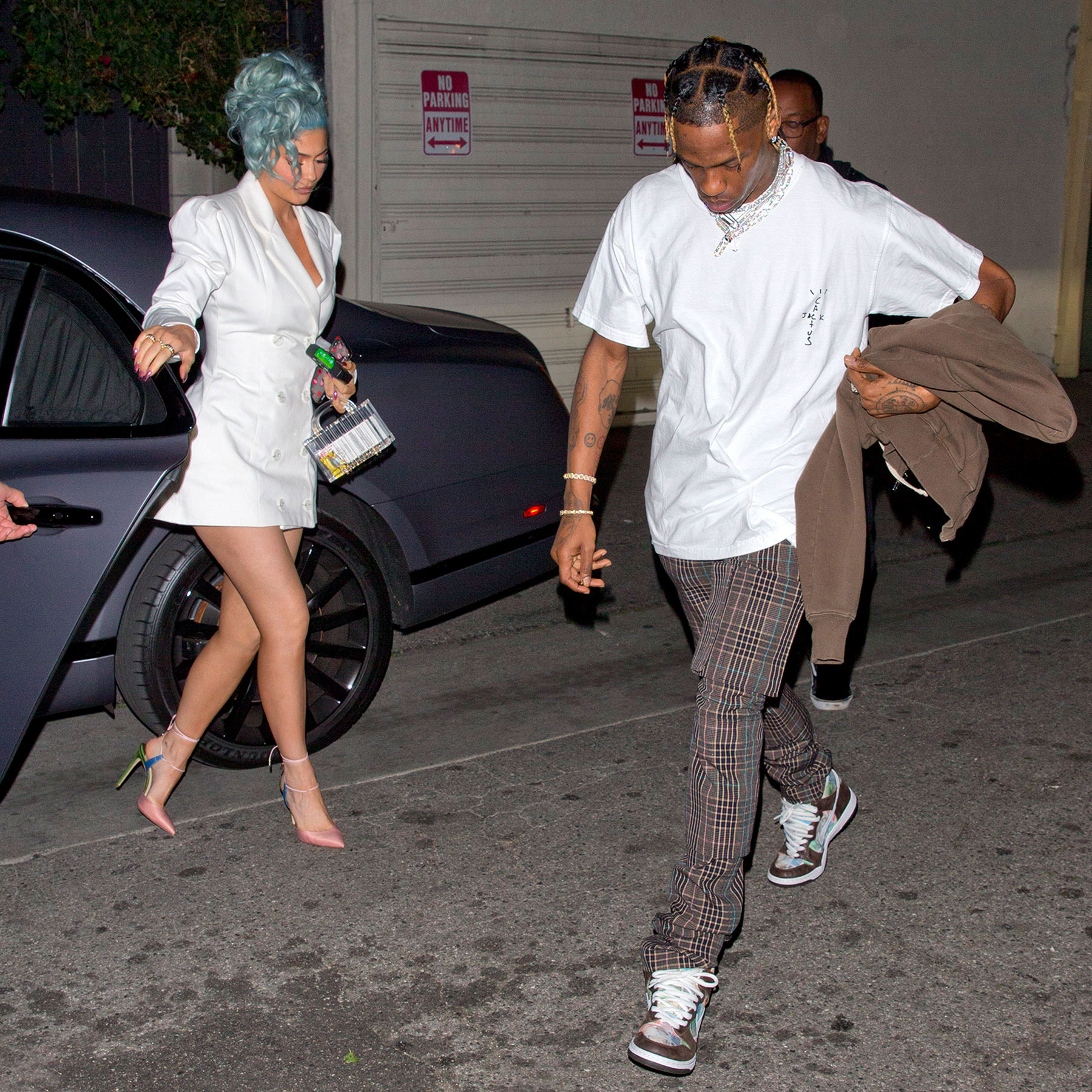 Blue Haired Beauty! Kylie Jenner And Travis Scott Head To Dinner On New Year's Eve At 'Craig's Restaurant' In West Hollywood