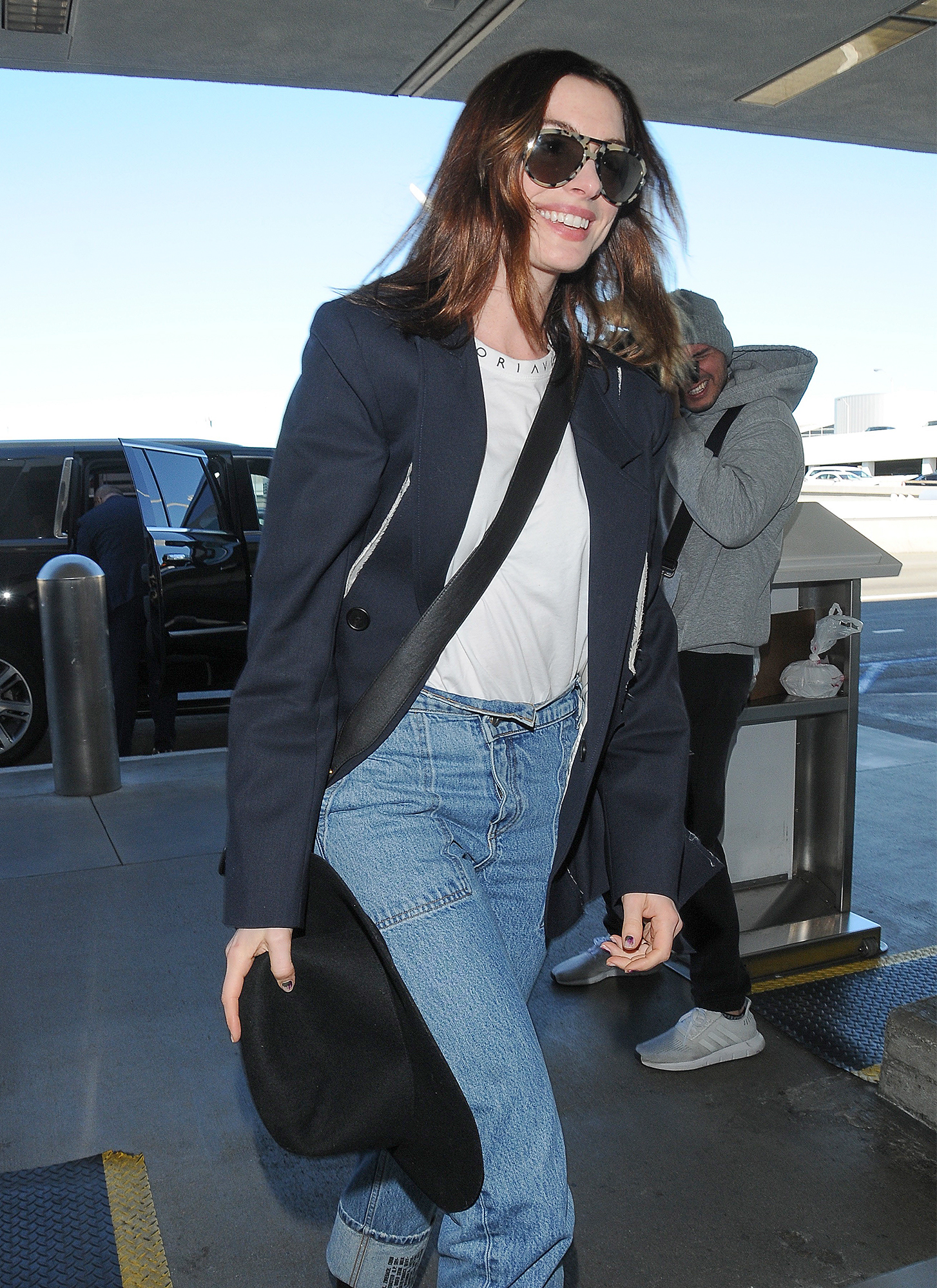Anne Hathaway is Pictured at LAX Airport in Los Angeles.