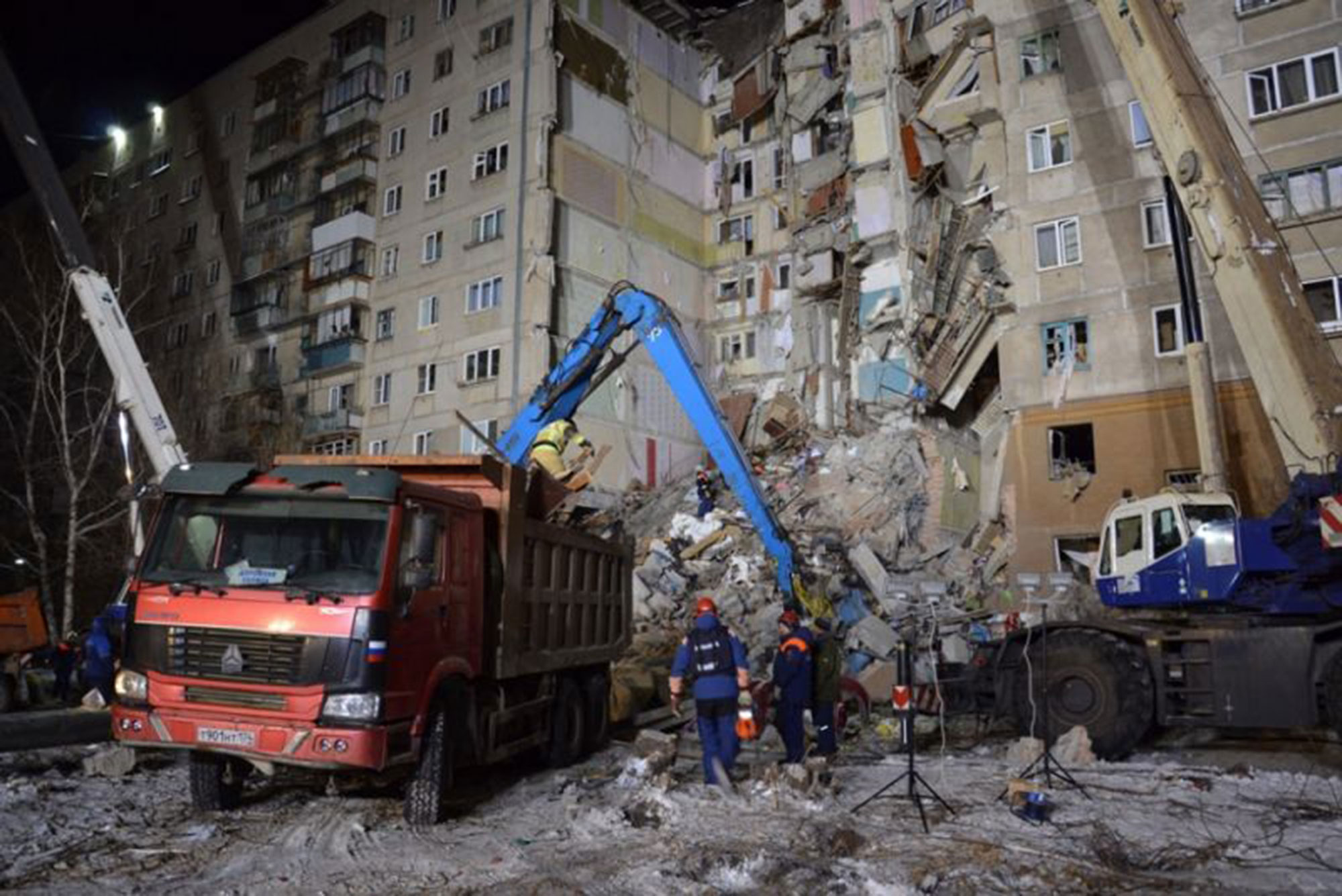 Gas explosion in an apartment building in Magnitogorsk, Russian Federation - 01 Jan 2019