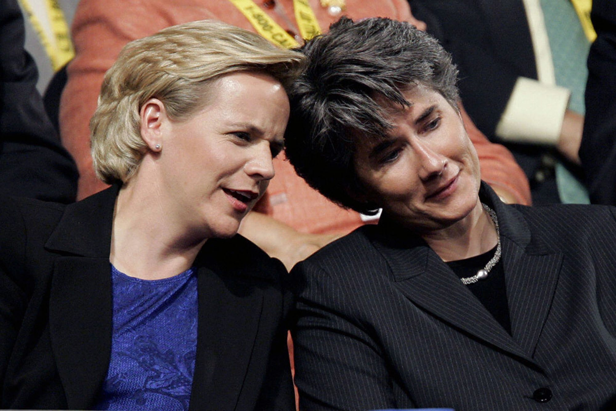 Mary Cheney(L), daughter of US Vice Pres