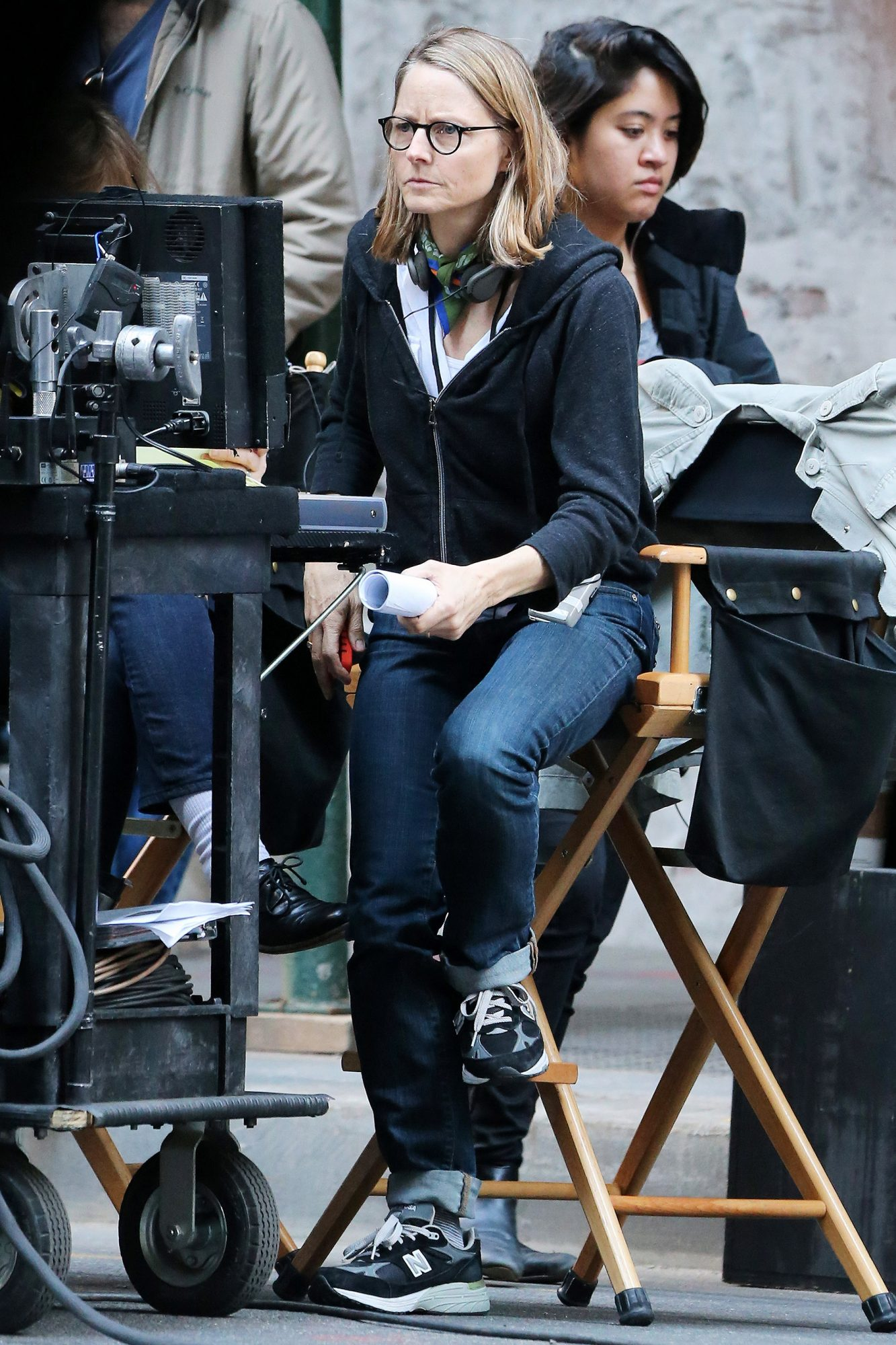 Director Jodie Foster sets up a shot with cinematographer Matthew Libatique on the set of 'Money Monster' on April 18, 2015 in New York City
