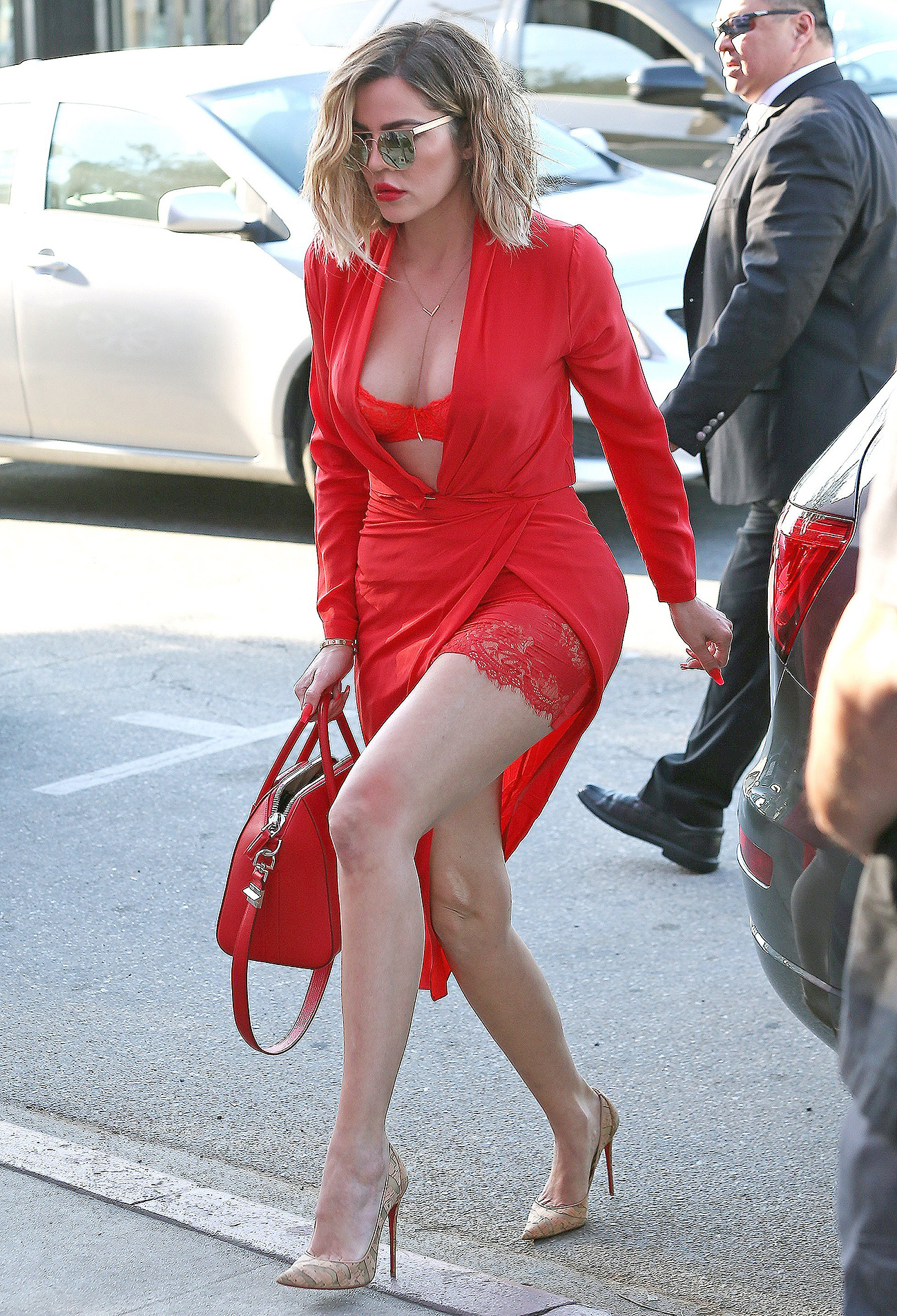 Khloe Kardashian Steps Out In Red In Los Angeles