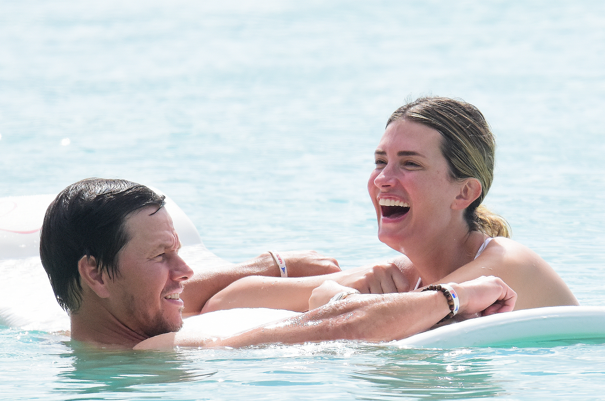 Mark Wahlberg and wife Rhea pictured on holiday  in Barbados