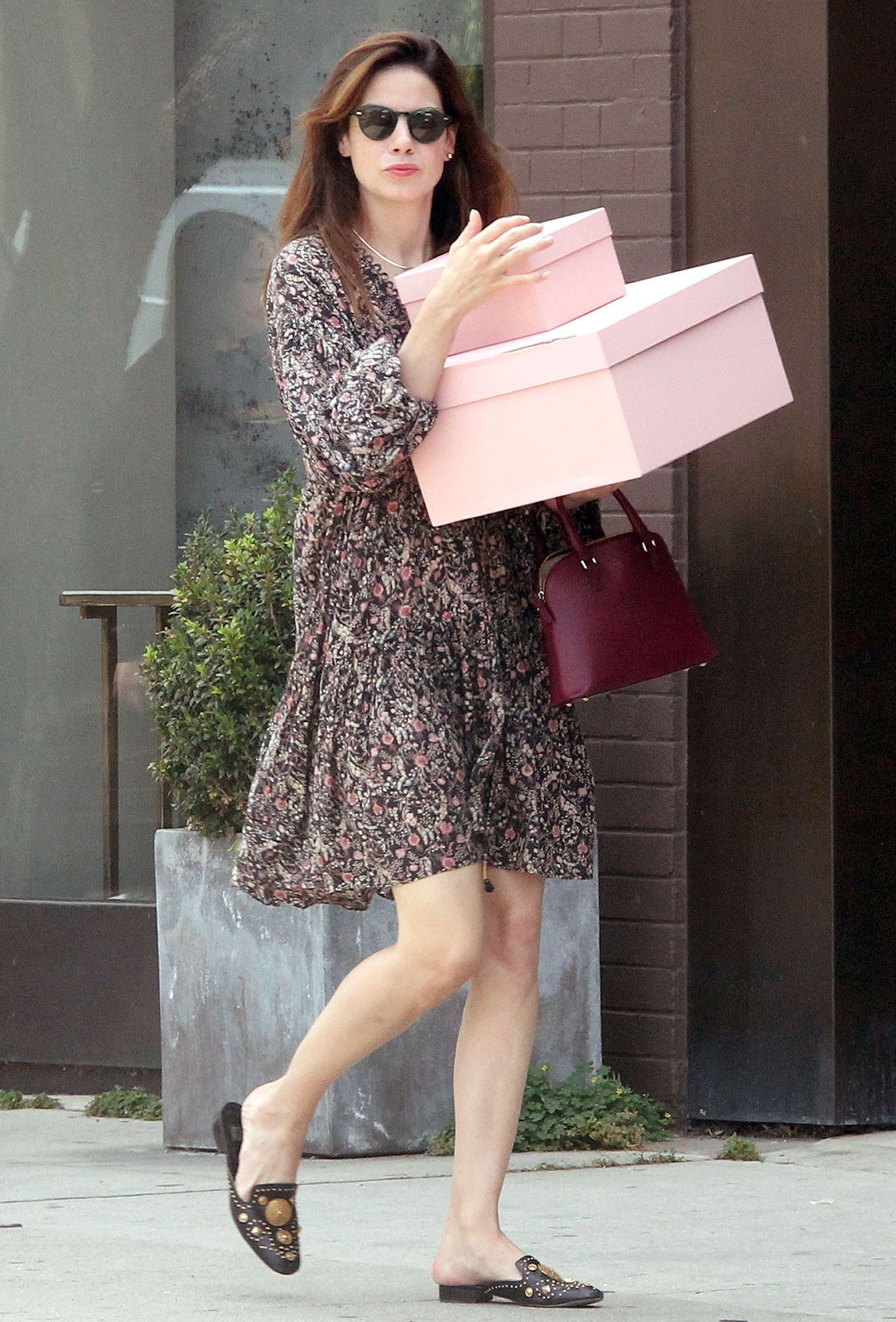 """EXCLUSIVE: Michelle Monaghan carrying pink boxes, spotted going to """"The Line"""" store in West Hollywood."""