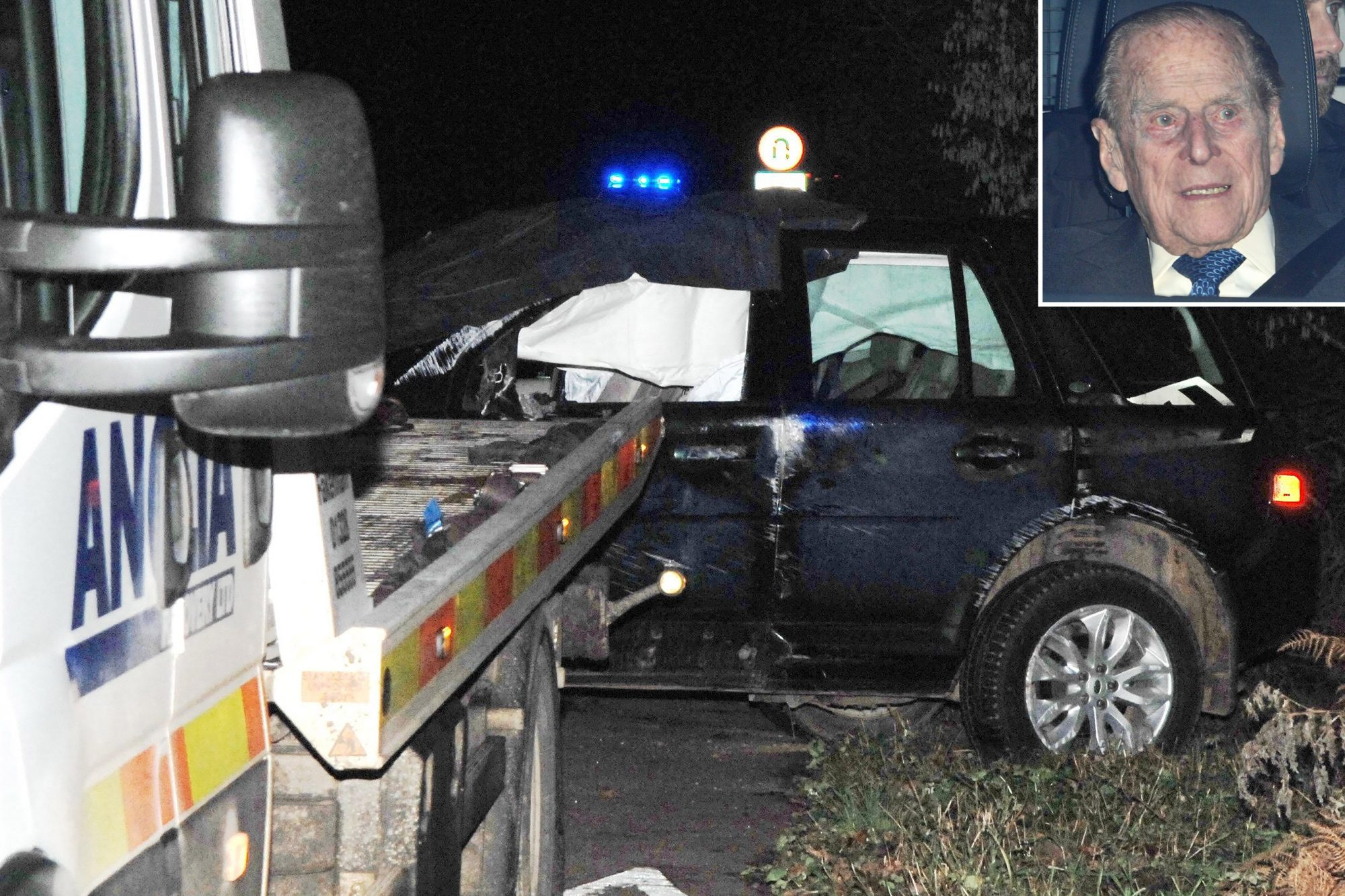 EXCLUSIVE: **PREMIUM RATES APPLY**Duke of Edinburgh, 97, is 'conscious but very shocked and shaken' with Queen at his side after crashing Range Rover and overturning it near Sandringham Estate