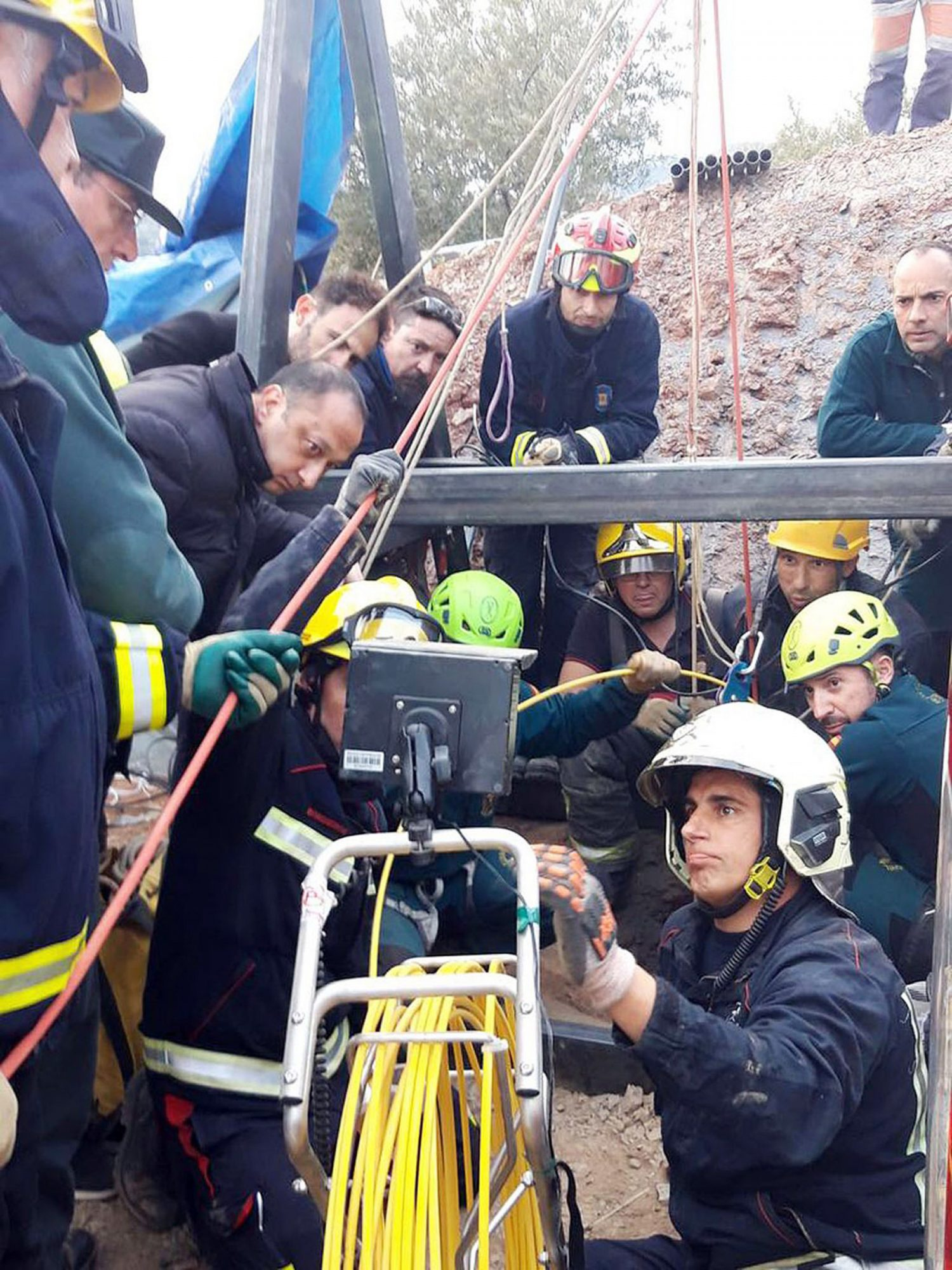Two-year-old boy falls into a 110 meters well in Malaga, Spain - 16 Jan 2019
