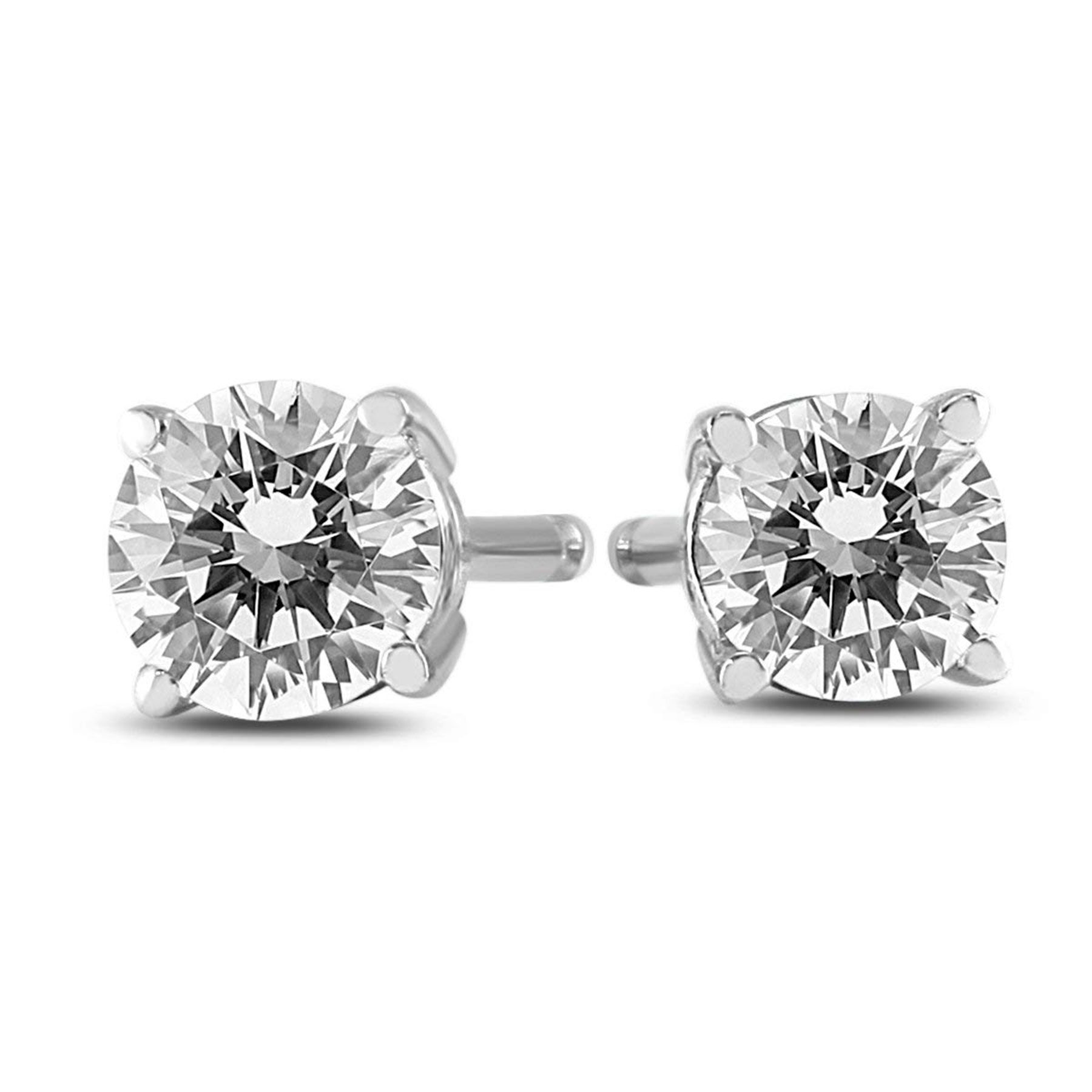 Round Diamond Solitaire Stud Earrings