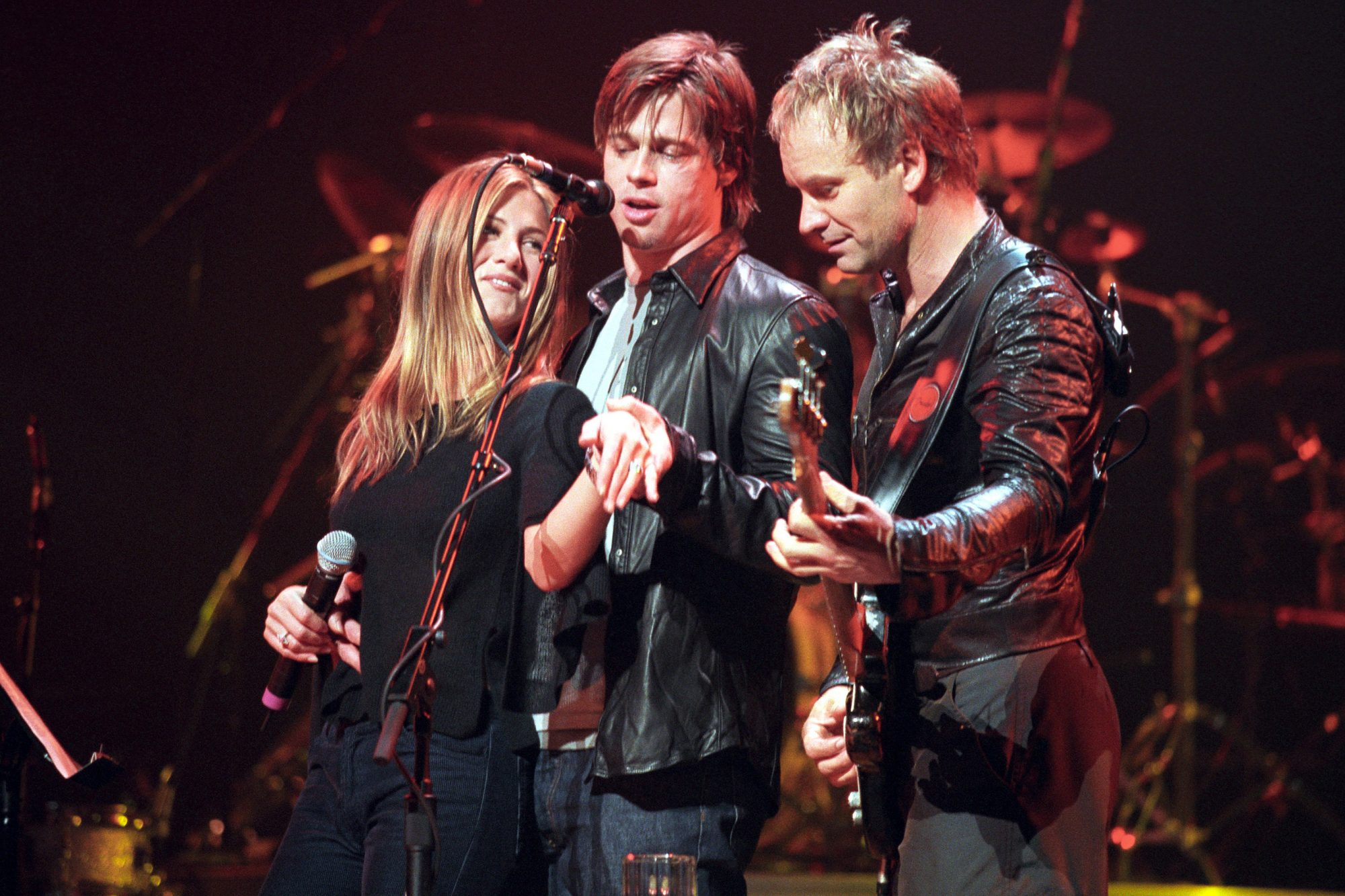 Jennifer Aniston and Brad Pitt Onstage During a Sting Concert at the Beacon Theater - File Photos