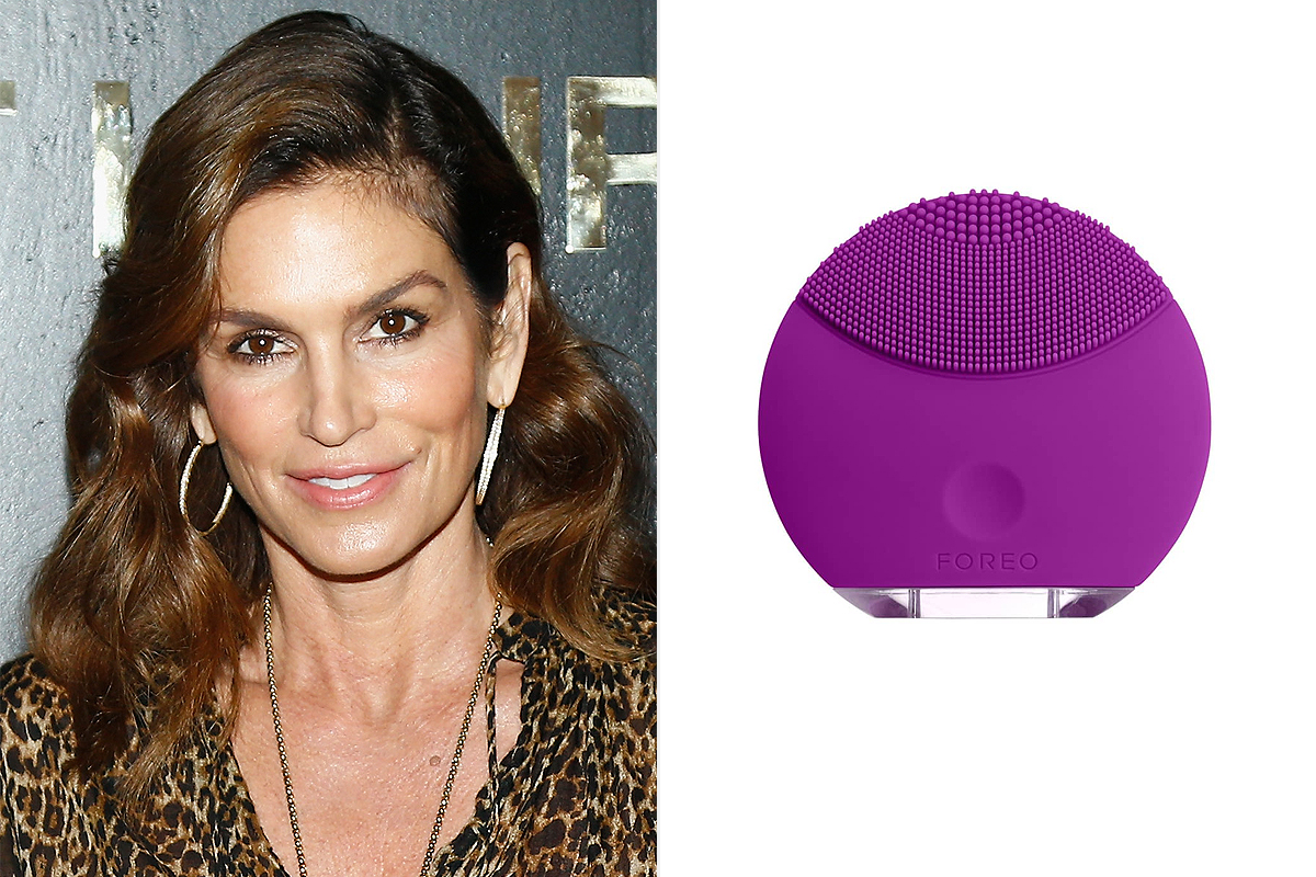 Cindy Crawford and mini purple Foreo facial cleansing device from Nordstrom