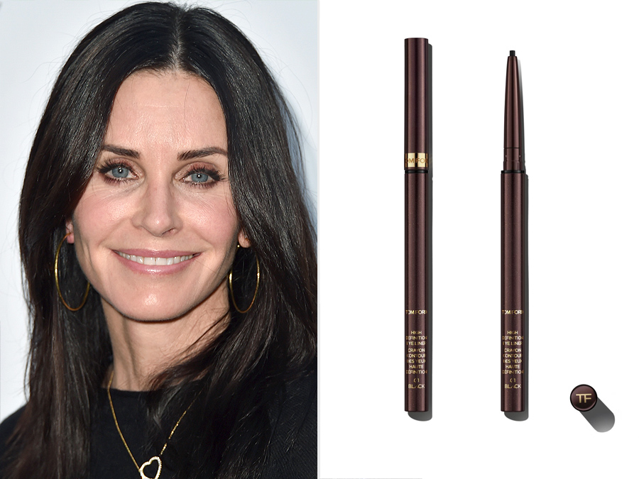 Courteney Cox and bronzy brown Tom Ford high definition eyeliner from Nordstrom