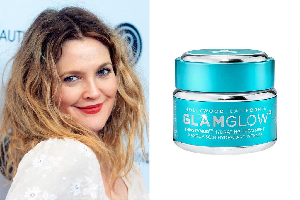 Drew Barrymore and GlamGlow Thirstymud hydrating treatment mask from Nordstrom