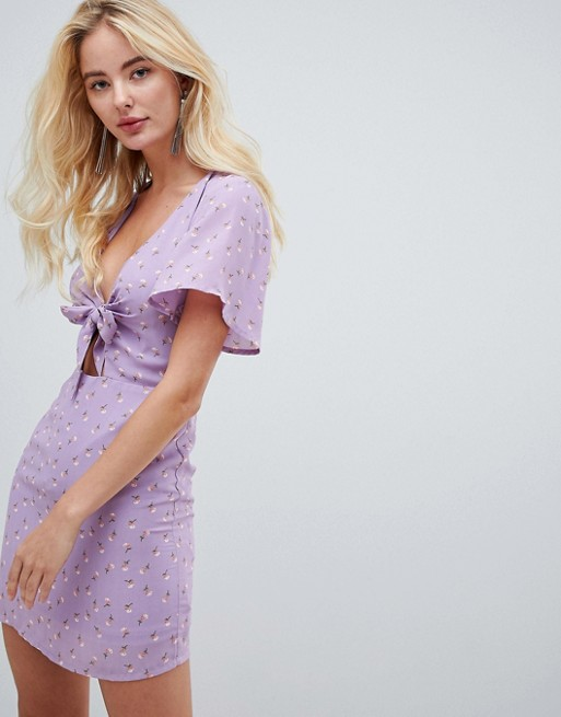 Fashion Union Plunge Front Dress in Floral at ASOS