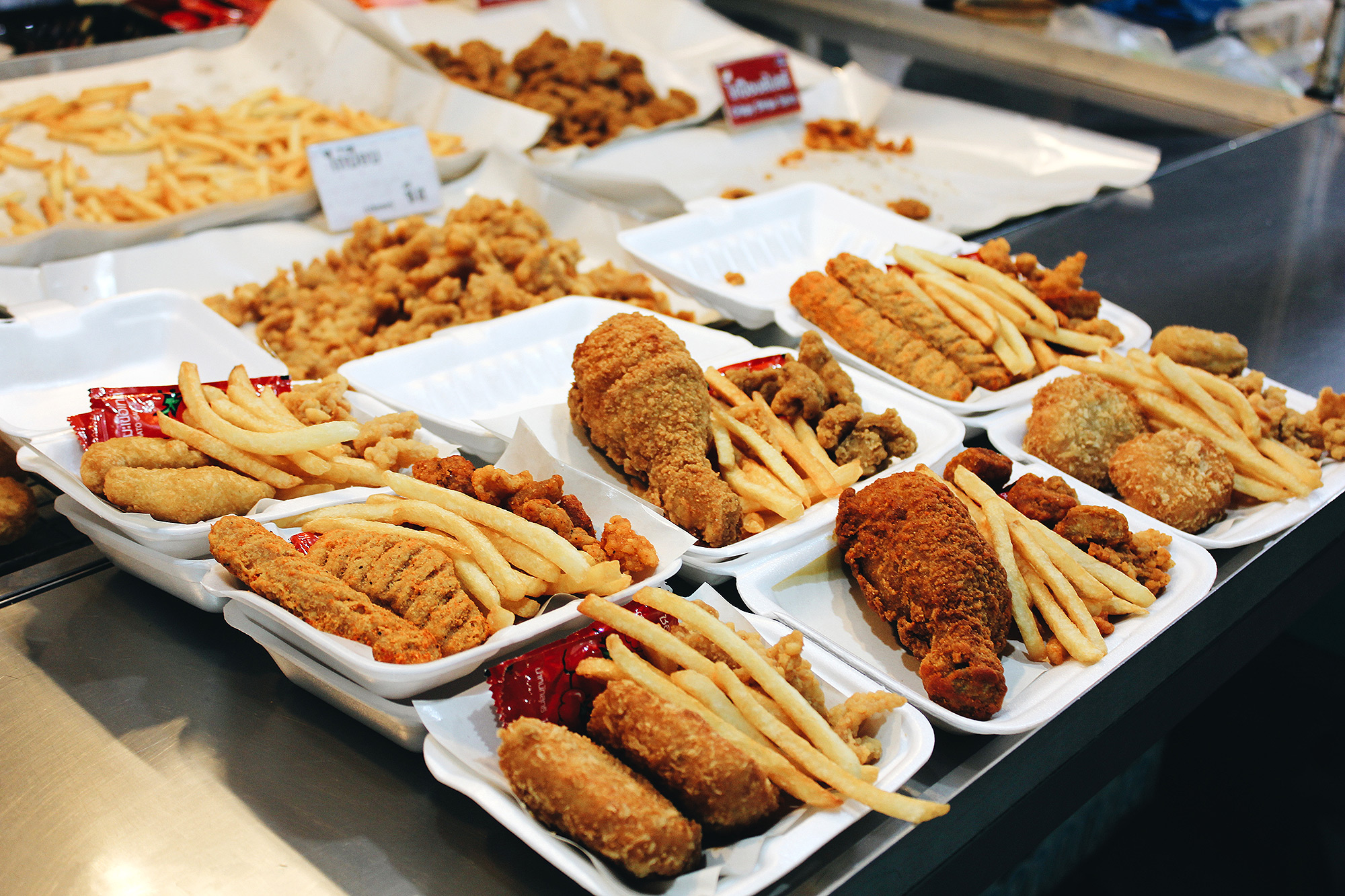 Variety Of Fast Food On Table