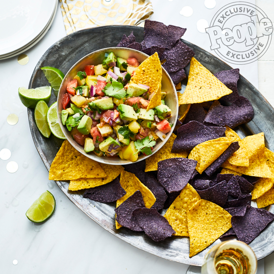 People Food - Red Carpet Issue - Elizabeth HeiskellTomato & Avocado Salsa with Blue Corn Chips