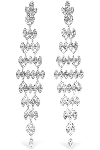 Kenneth Jay Lane Silver and Rhodium-Plated Crystal Earrings at Net-a-Porter