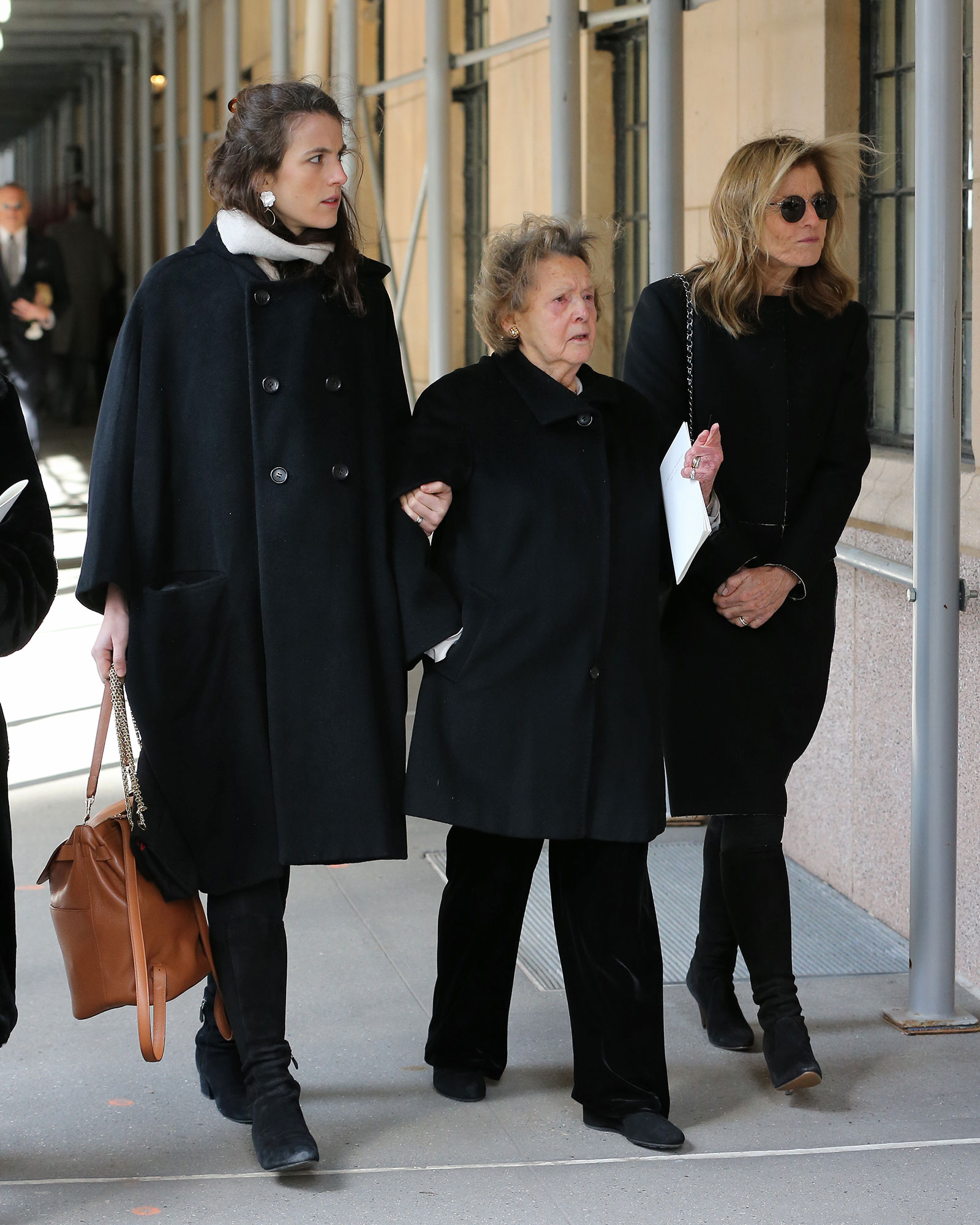 Caroline Kennedy, Her Daughter Tatiana Schlossberg And The Kennedy family Nanny Marta Sgubin Attend The Funeral Of Lee Radziwell At Church Of St. Thomas More