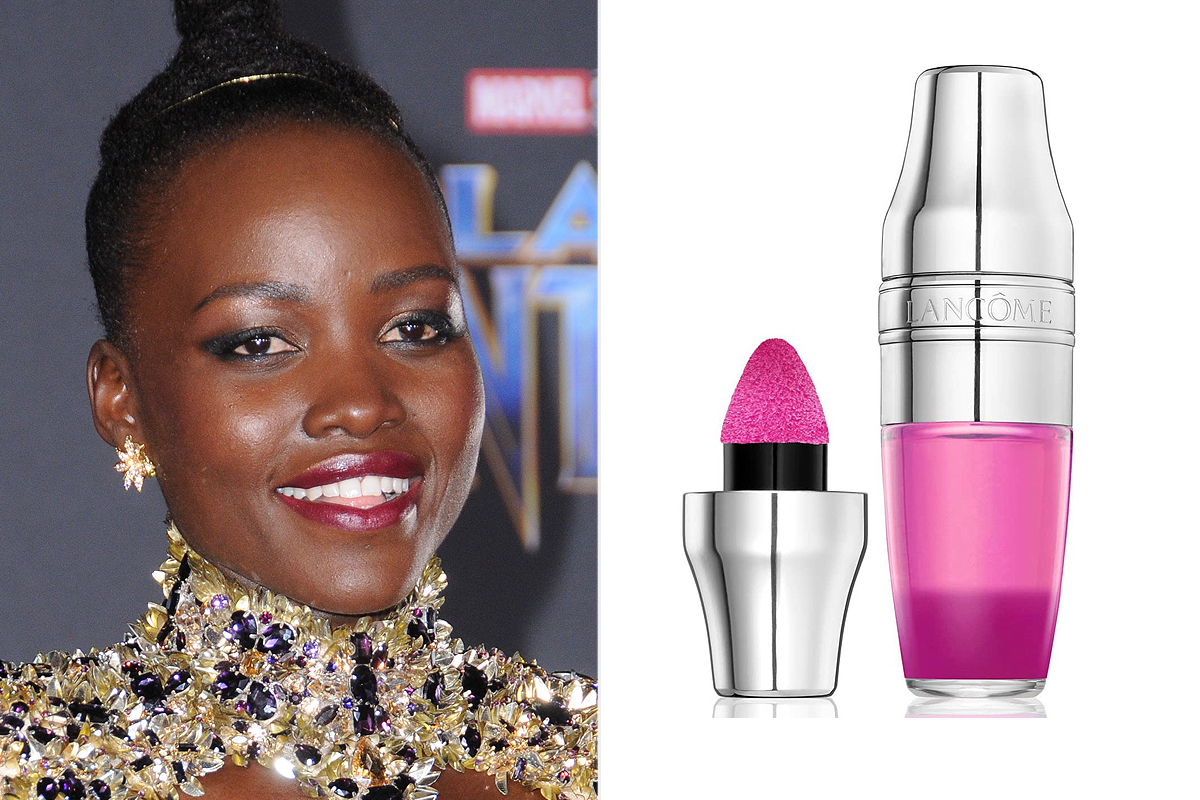 Lupita Nyong'o and Lancôme fuchsia pigment-infused Juicy Shaker Lip Oil from Nordstrom