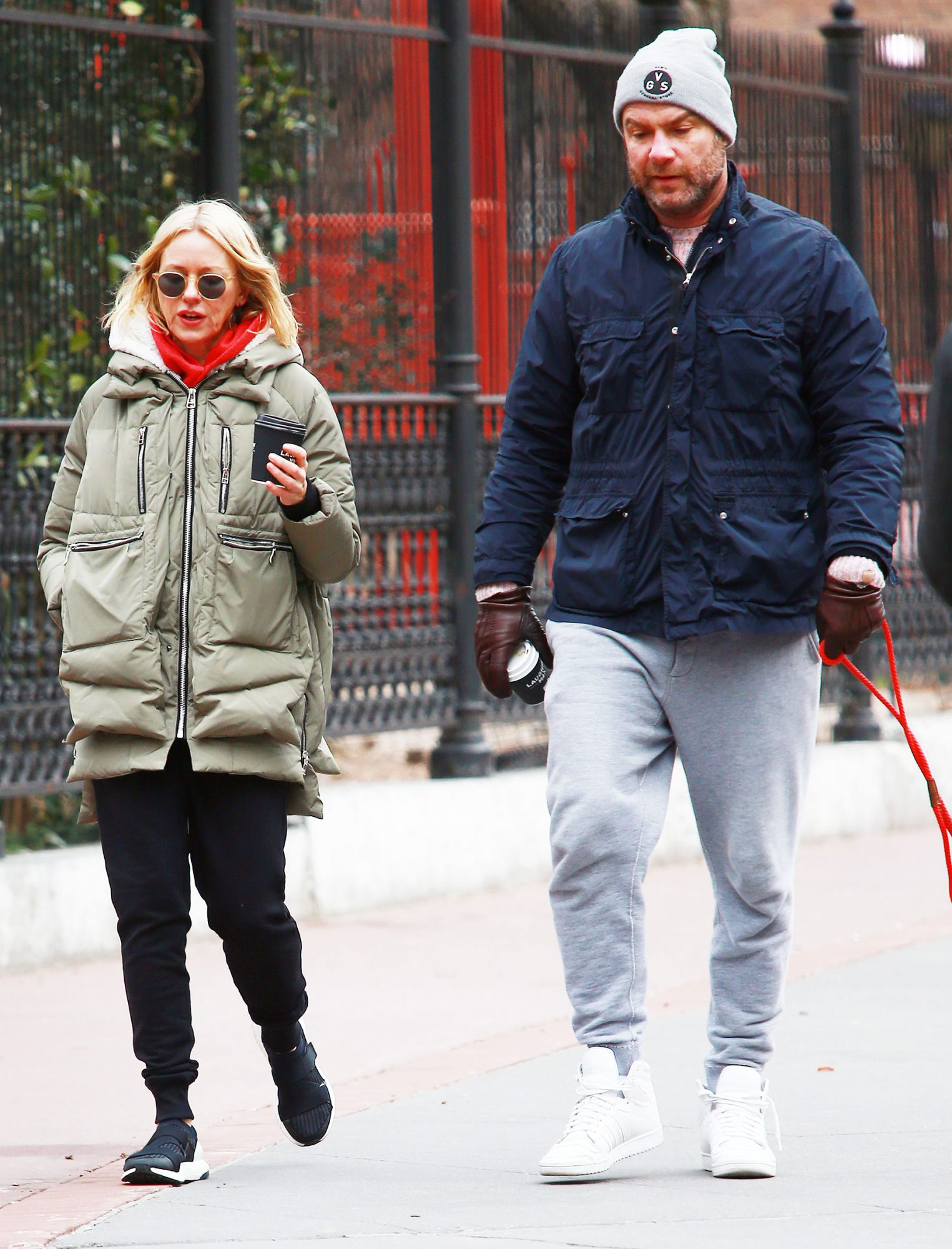 EXCLUSIVE: Naomi Watts And Liev Schreiber Reunite For Morning Coffee And Walk Their Dog In Tribeca In New York City