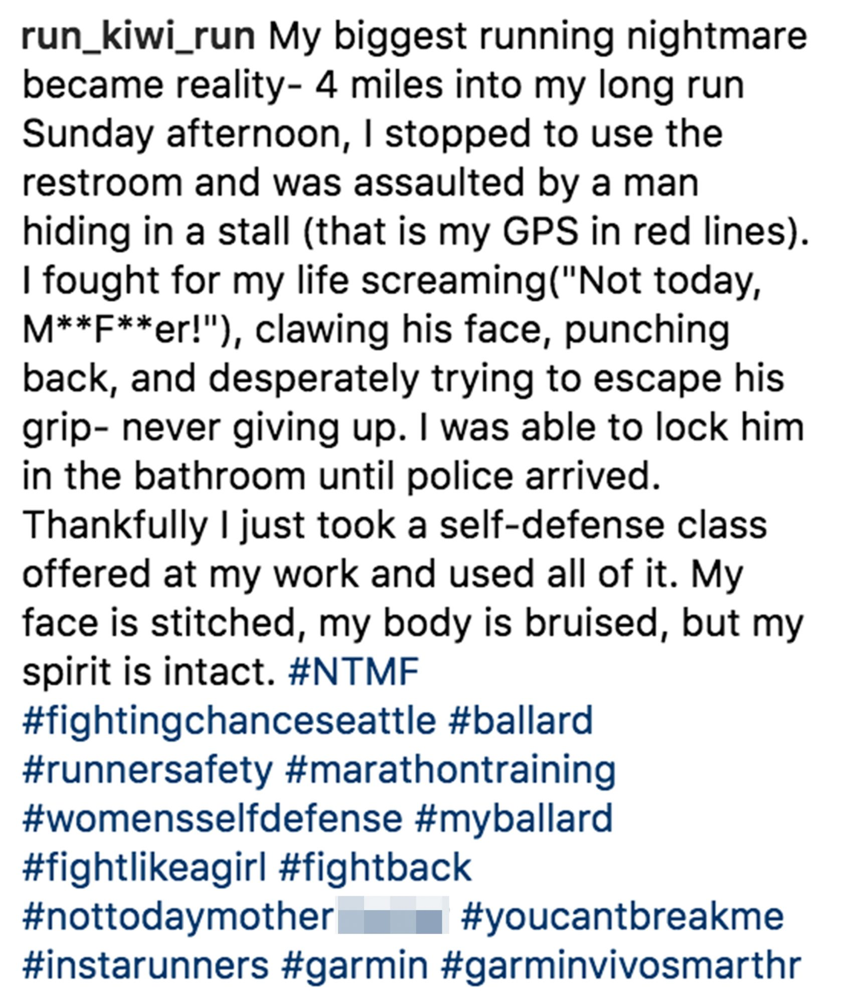 Washington state jogger fends off rapistCredit: Courtesy Kelly Herron