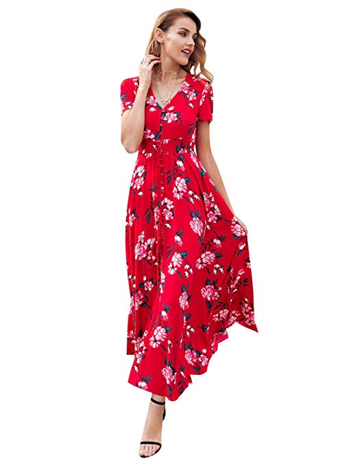 Simplee Women's Casual V Neck Floral Print Boho Maxi Dress with Short Sleeves on Amazon