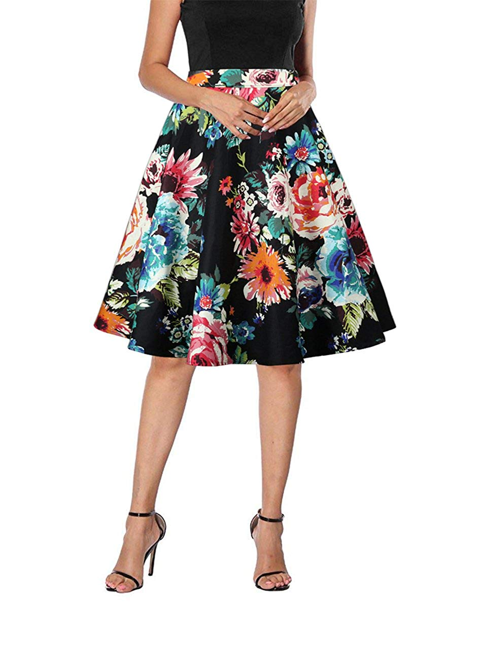 Yanmei Women's 50s Vintage Floral Skirt High Waisted A Line Casual Midi Skirts on Amazon