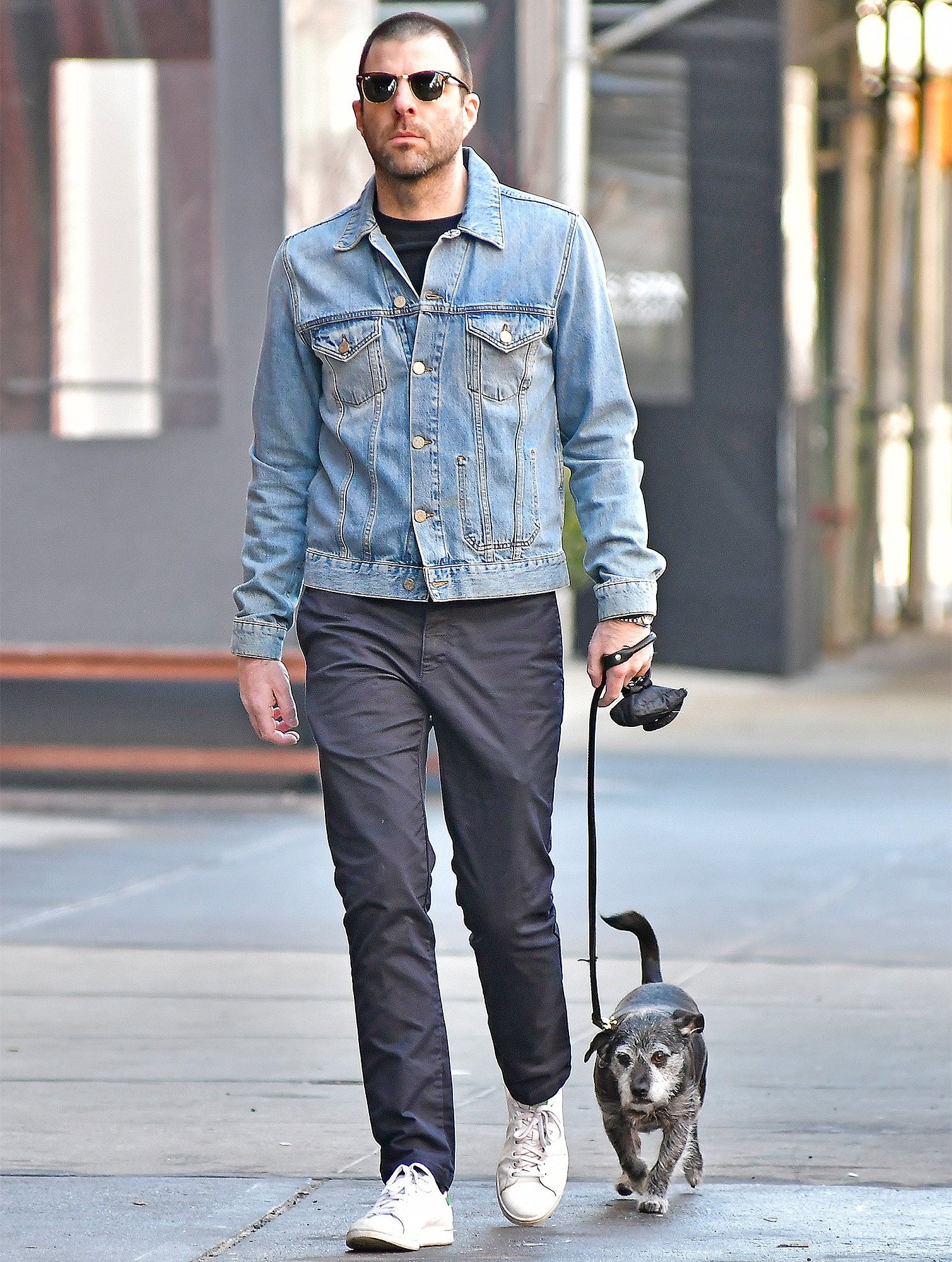 Zachary Quinto Walks His Dog In The Nice Weather Wearing Denim Jacket, Dark Blue Pants And White Sneakers In NOHO, New York City