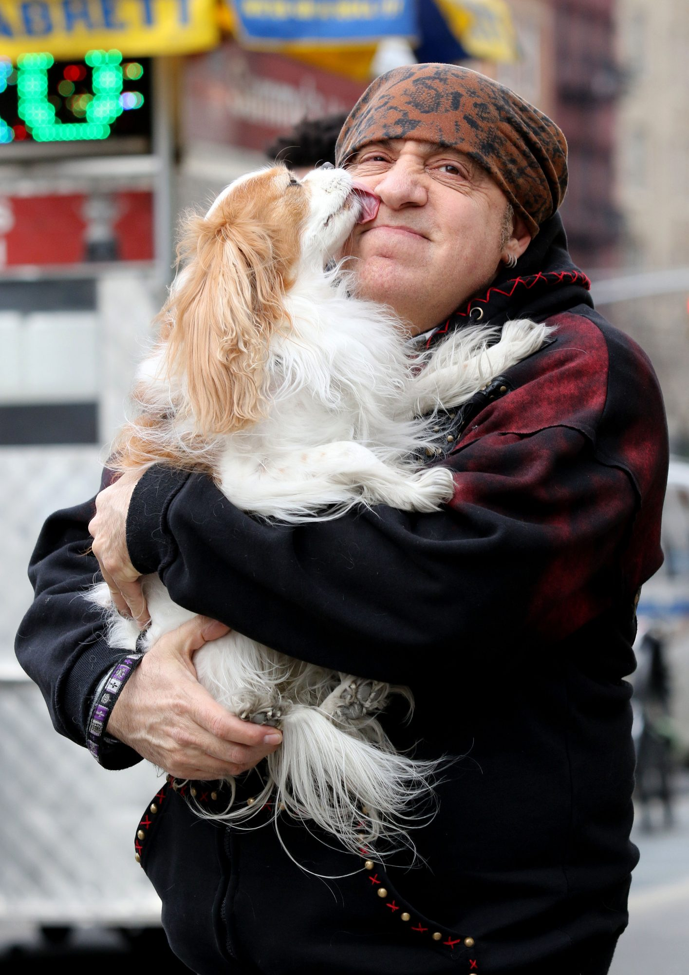 'Sopranos' Star And Musician Steven Van Zandt Gets Playful With His Dog Edie In New York City