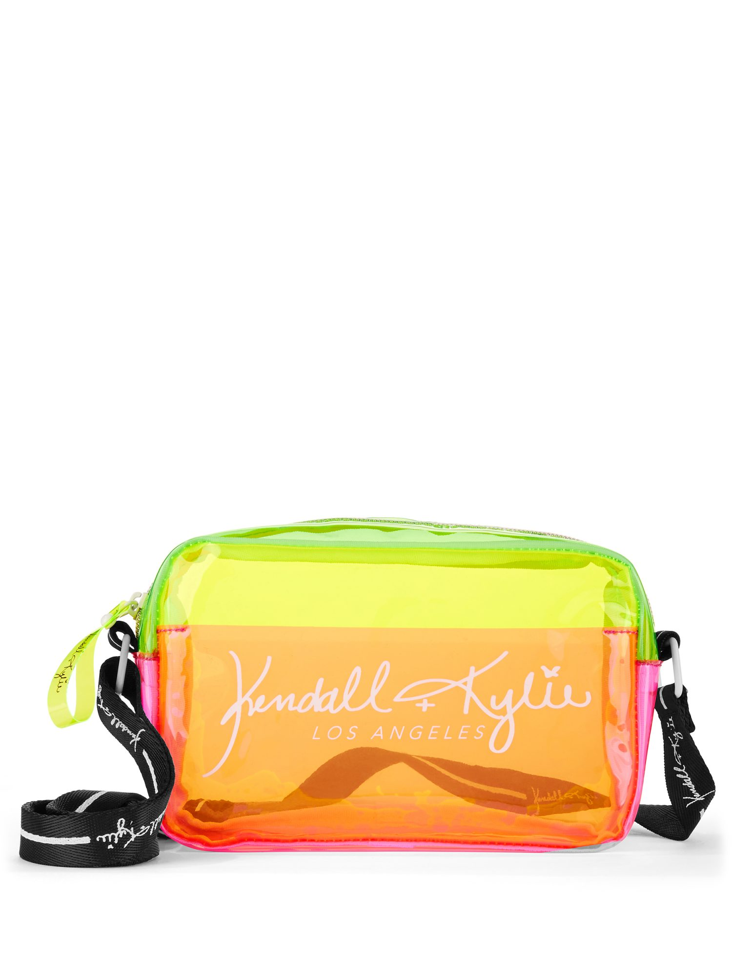 Neon pink, orange, and yellow belt bag from Kendall + Kylie line for Walmart