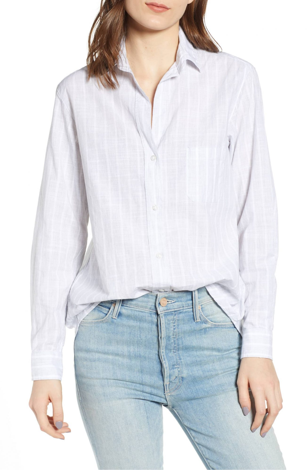 Gray and white stripe button-up from Grayson at Nordstrom