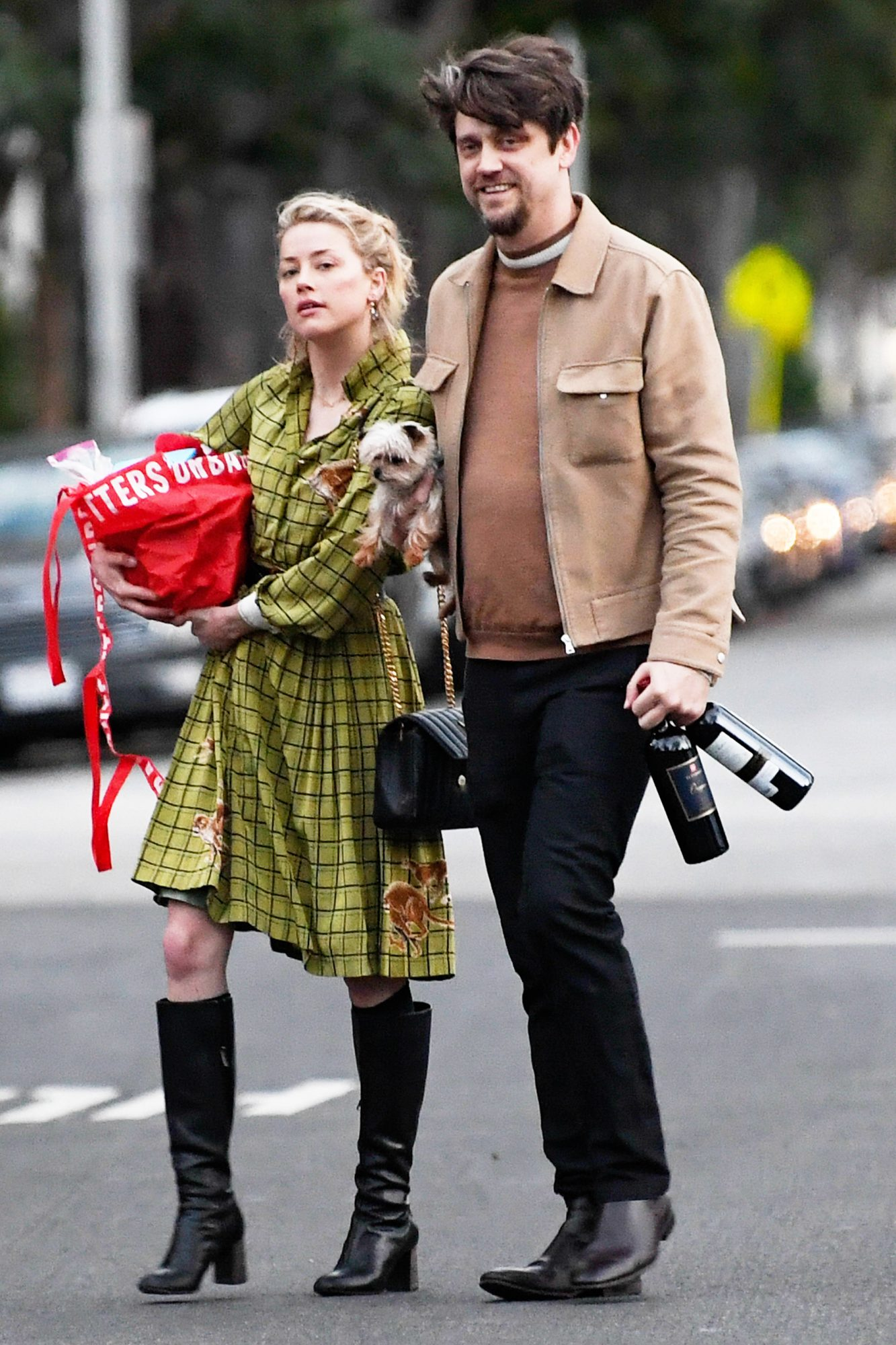 EXCLUSIVE: Amber Heard and boyfriend Andy Muschietti head to a friend's home for the evening