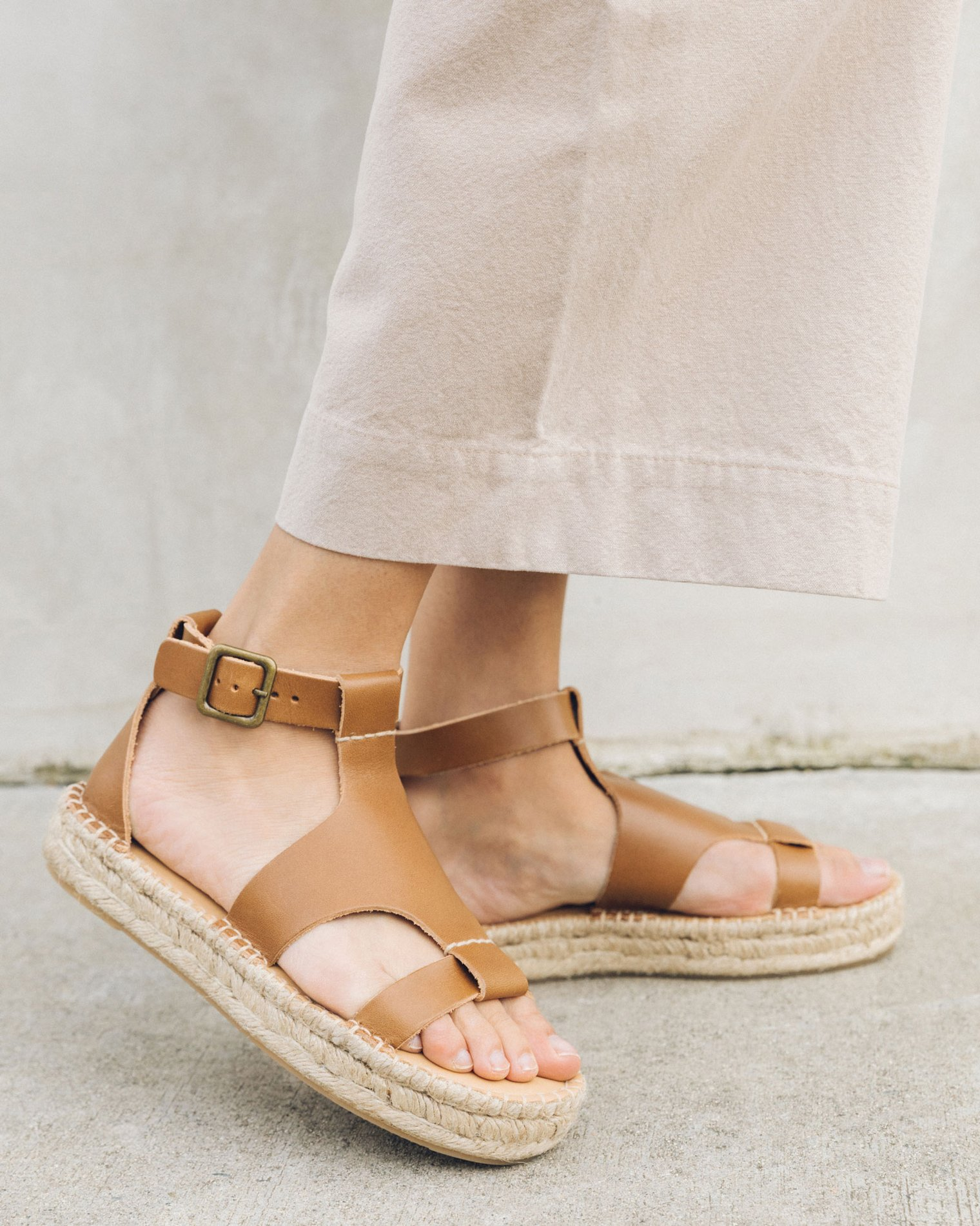 Brown leather platform sandals from Soludos