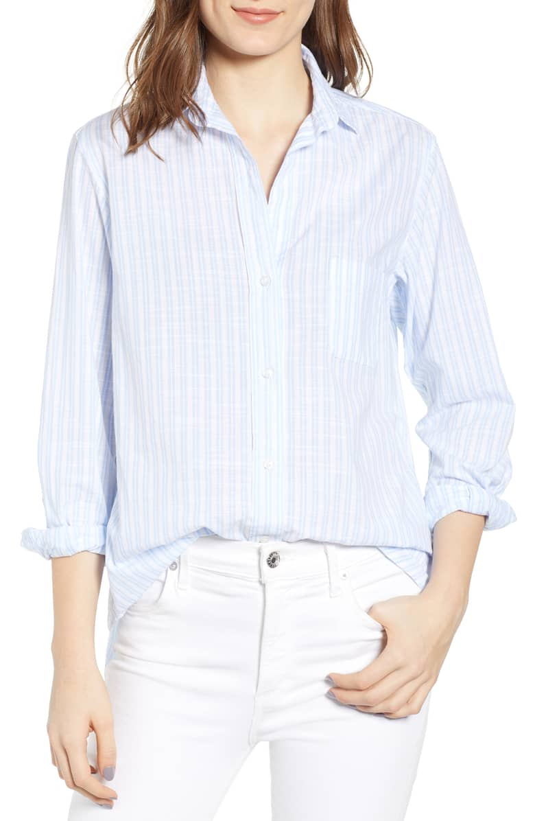 Blue and white stripe button-up from Grayson at Nordstrom