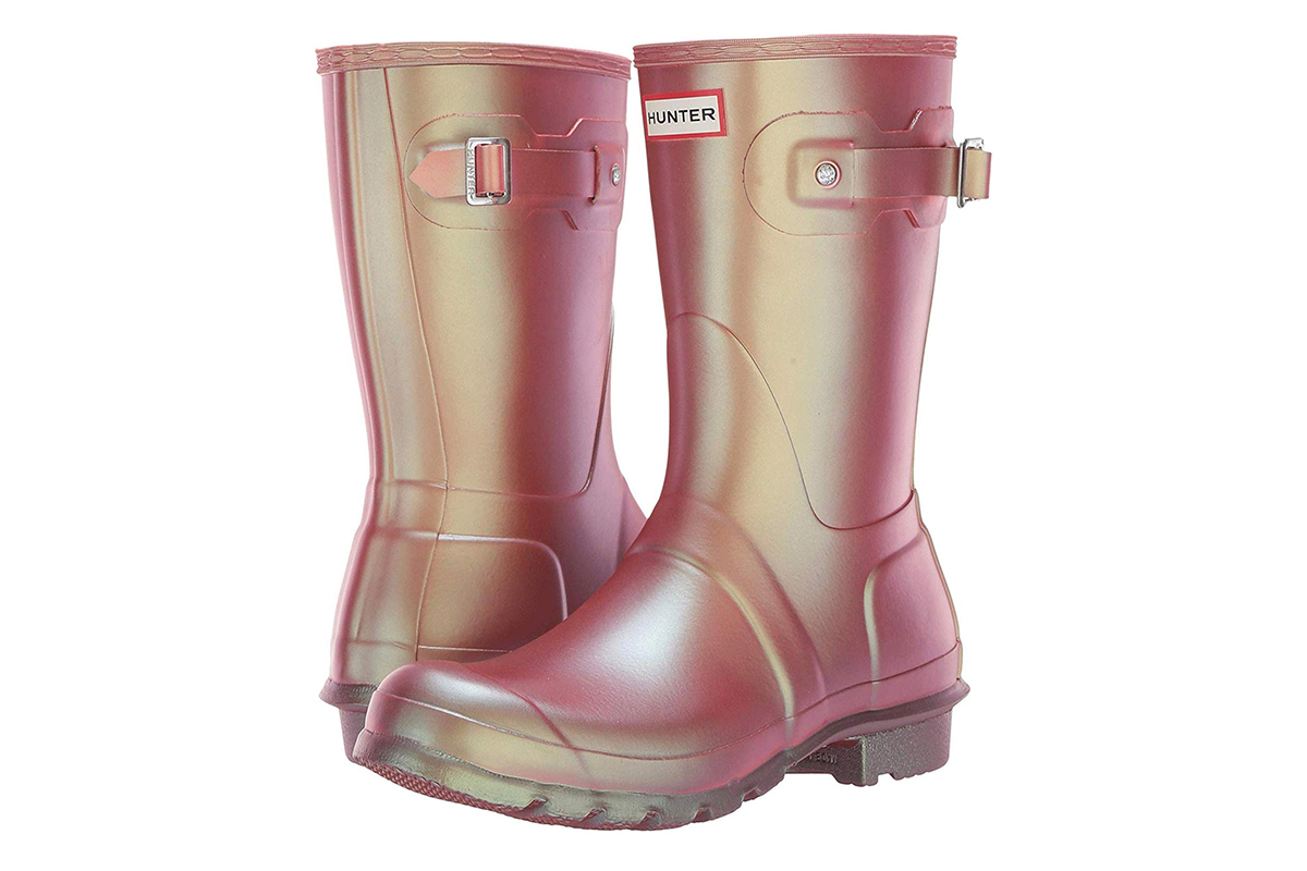 Hunter's Pink Iridescent Rain Boots