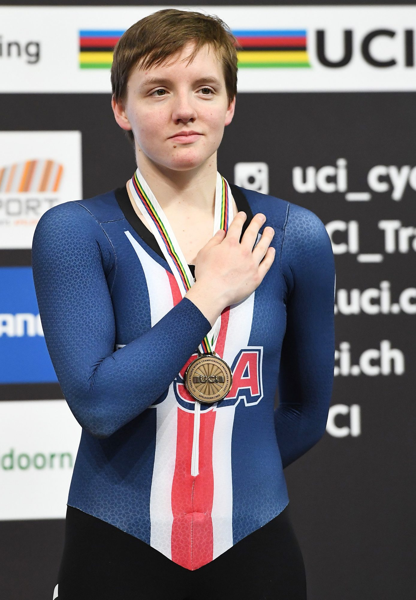 CYCLING-NED-UCI-WORLD-TRACK-WOMEN-PURSUIT-PODIUM