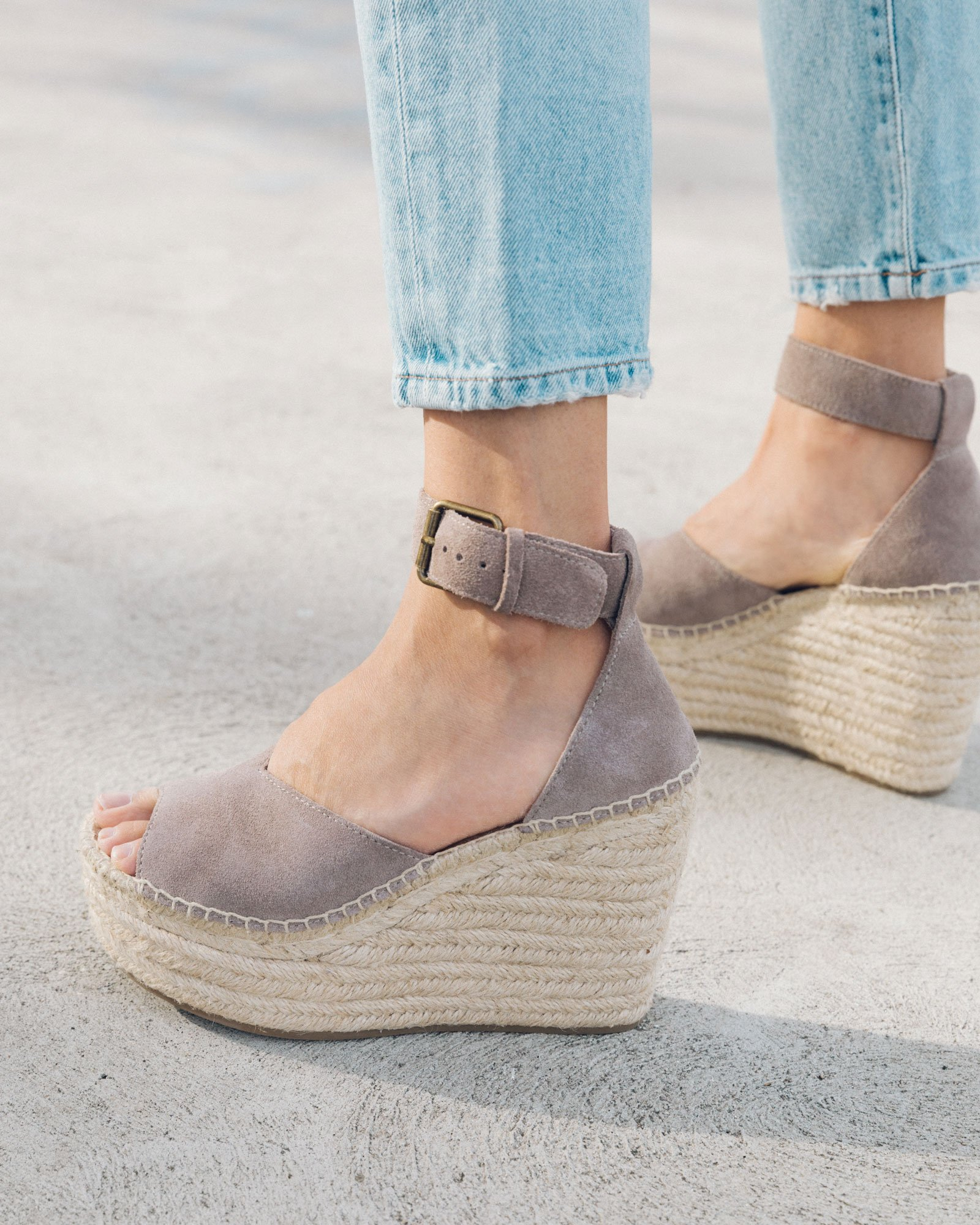Light grey suede espadrille wedges from Soludos