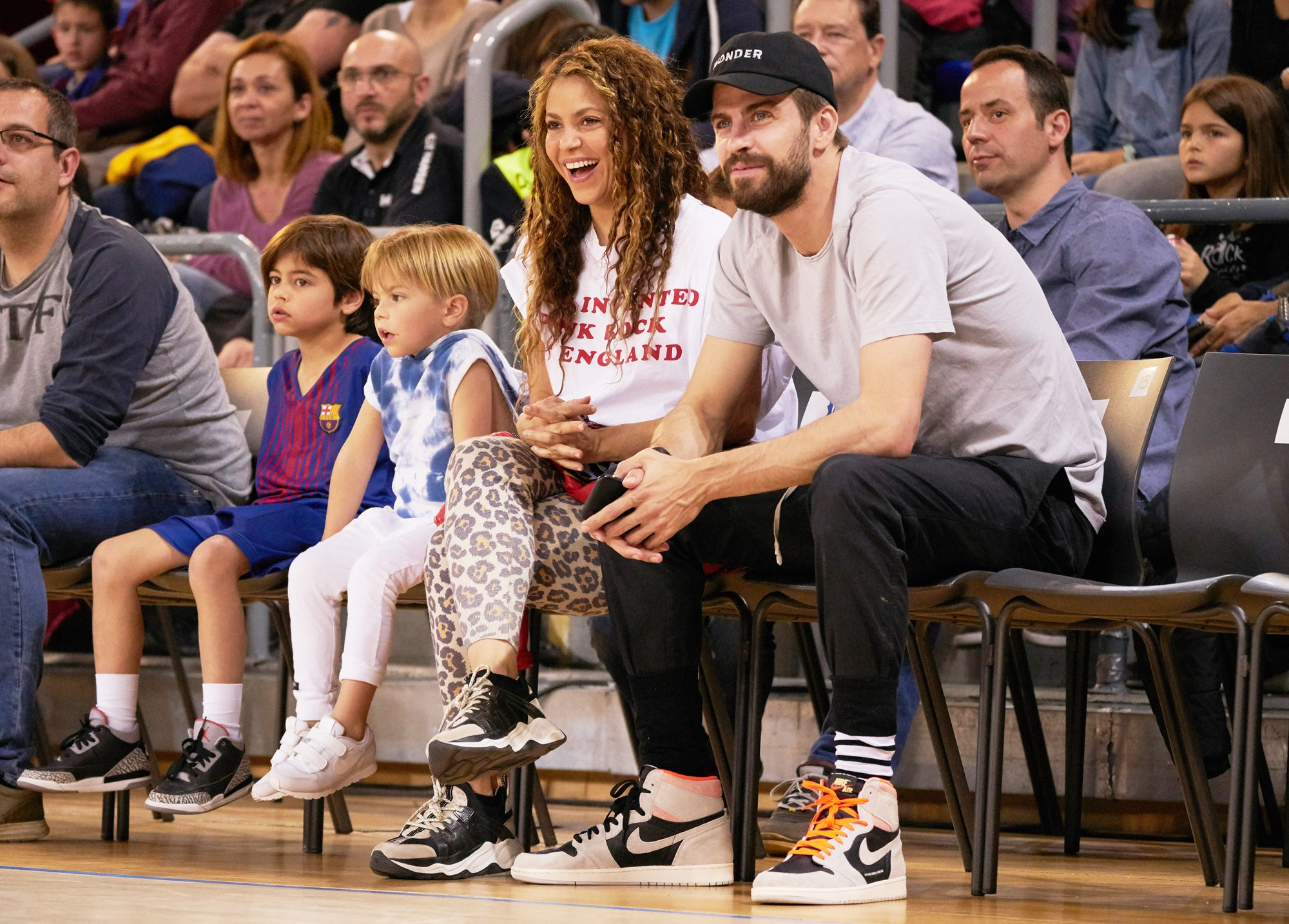 Shakira And Family At Basketball Match In Barcelona