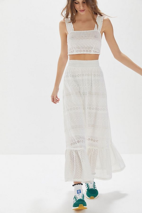 urban outfitters white lace matching skirt and crop top