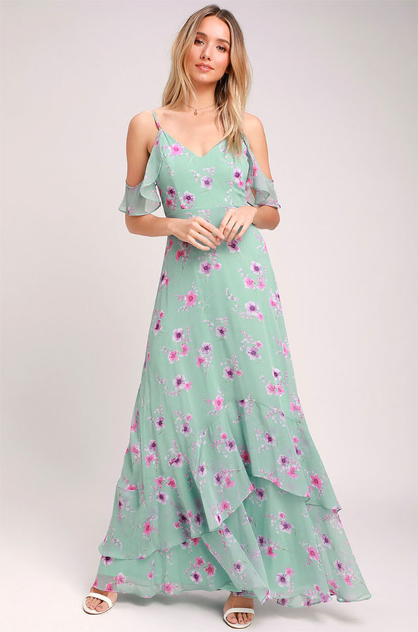 Mint green shoulder cutout floral maxi dress from Lulu's