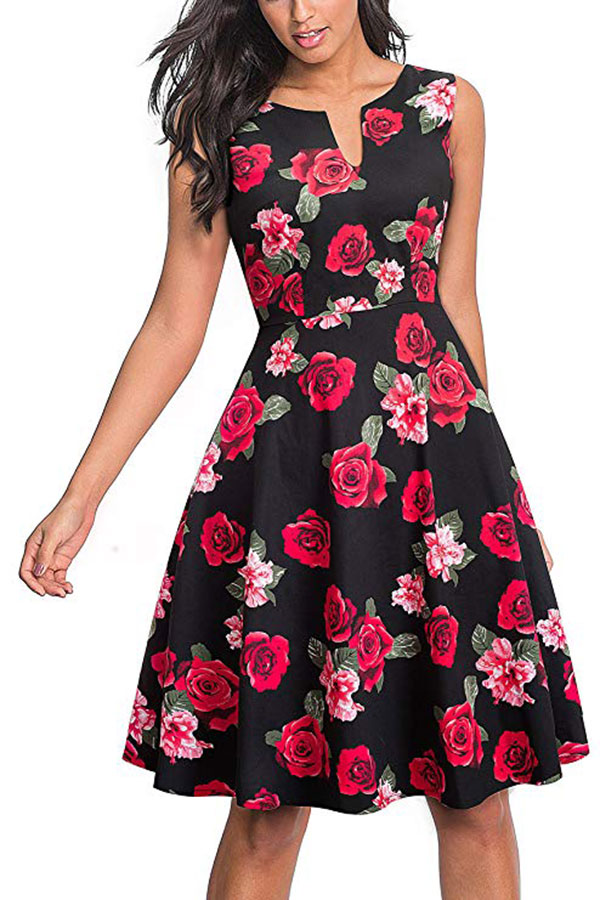 Black fit and flare dress with red flowers from Amazon